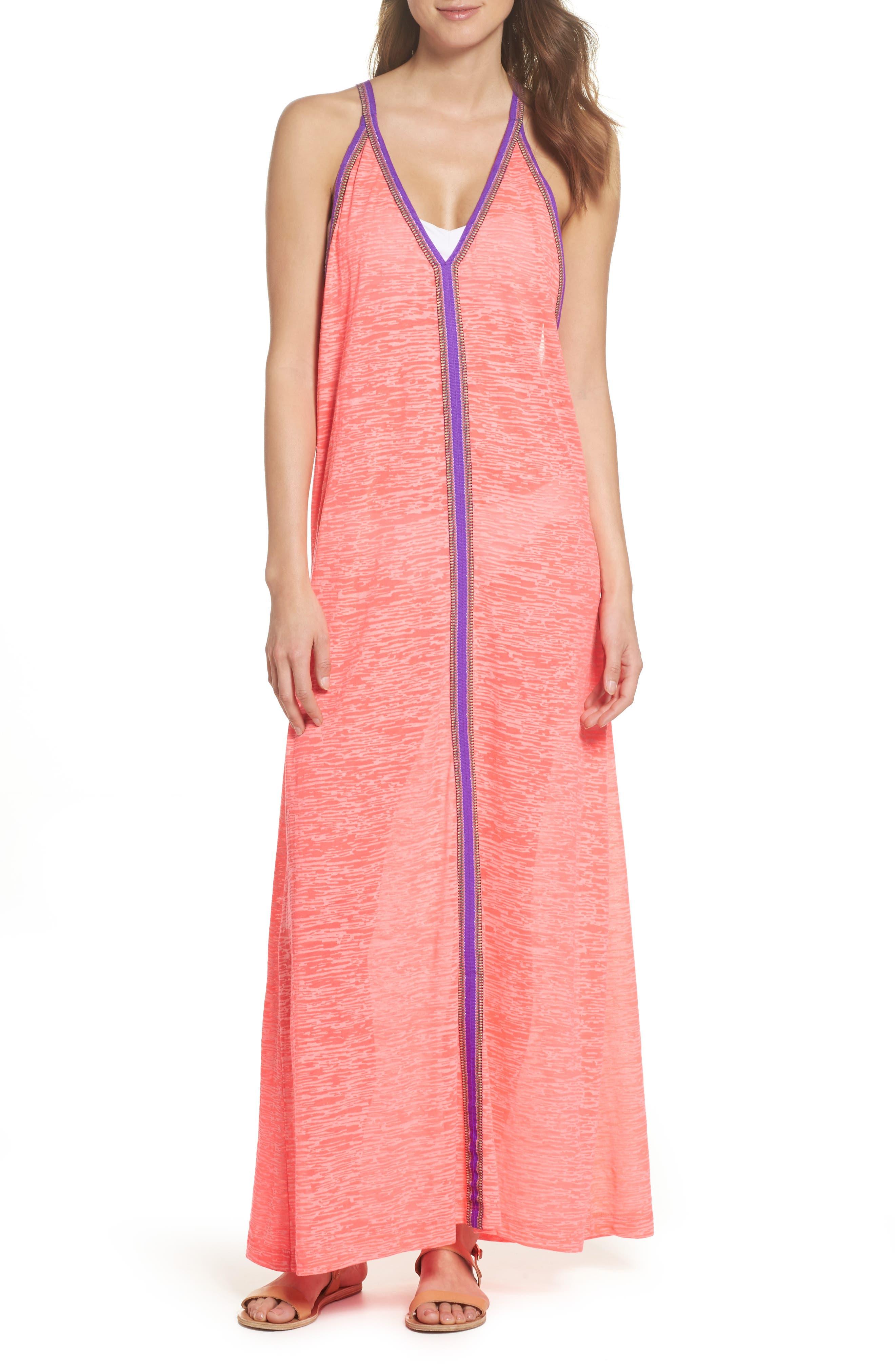 Inca Cover-Up Maxi Sundress,                         Main,                         color, Hot Pink