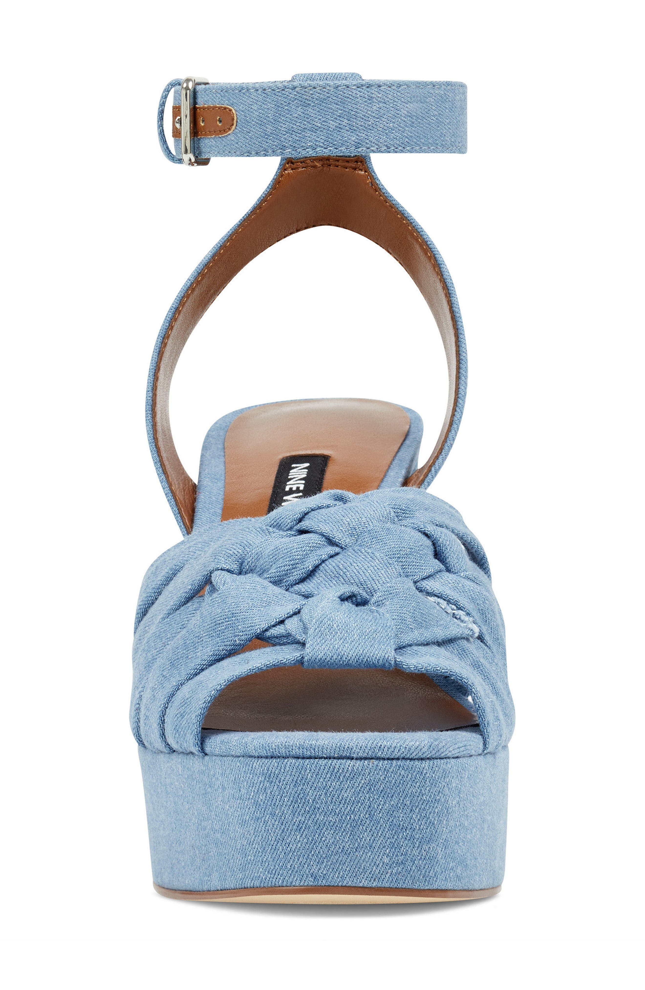 Fetuchini Platform Sandal,                             Alternate thumbnail 4, color,                             Light Blue Denim