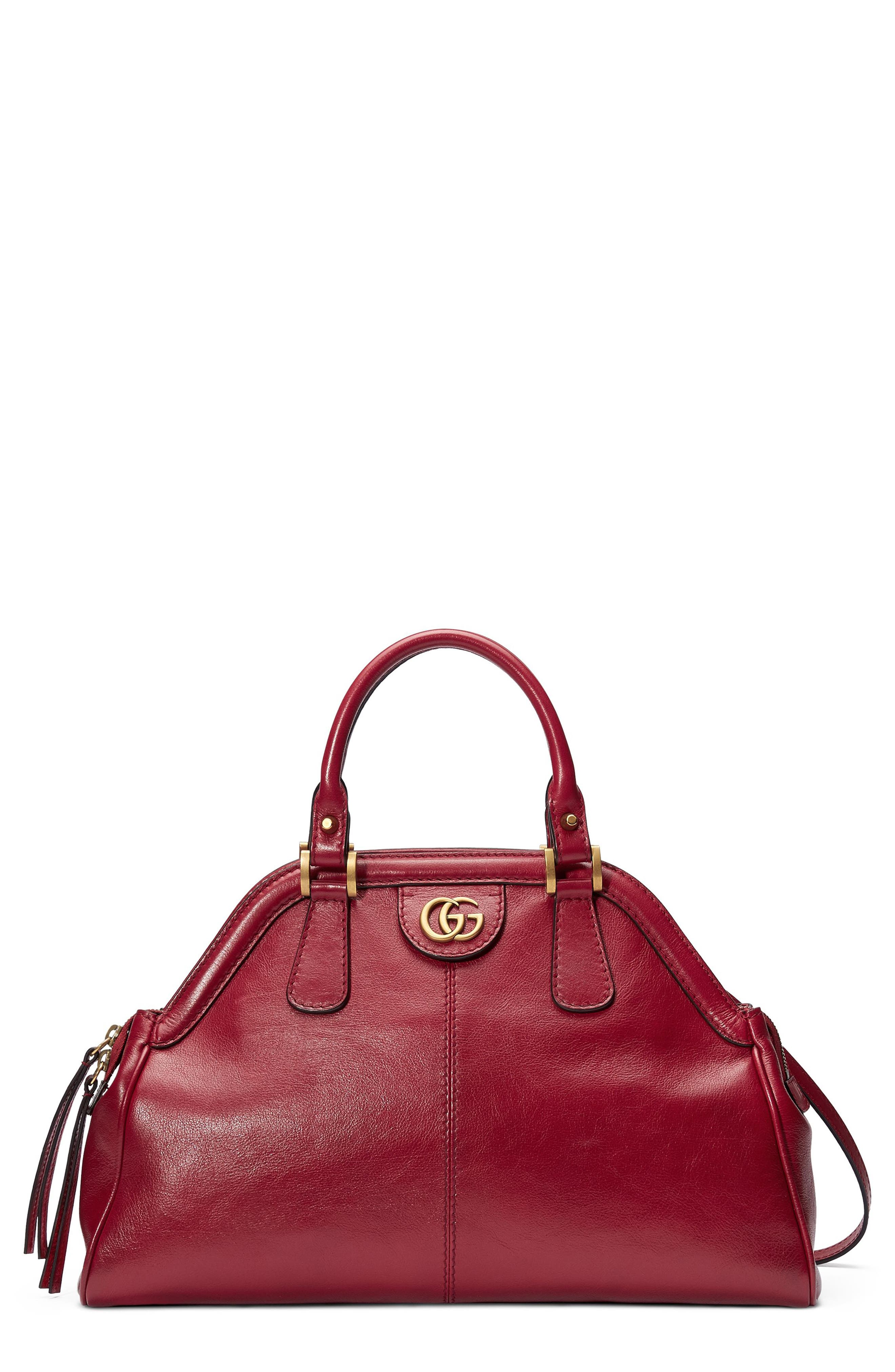 Medium RE(BELLE) Leather Satchel,                         Main,                         color, Romantic Cerise