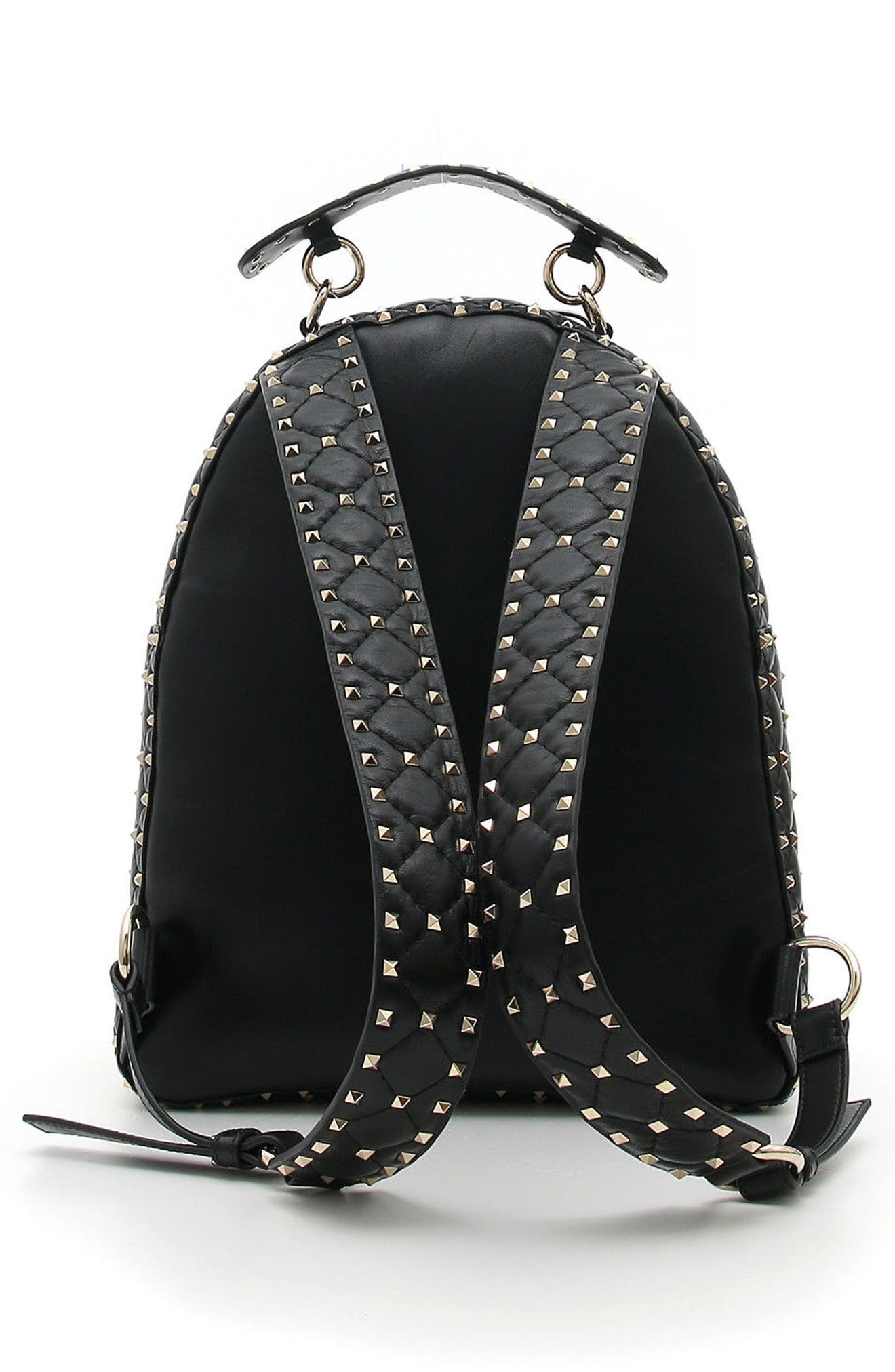 Rockstud Spike Quilted Leather Backpack,                             Alternate thumbnail 2, color,                             Black