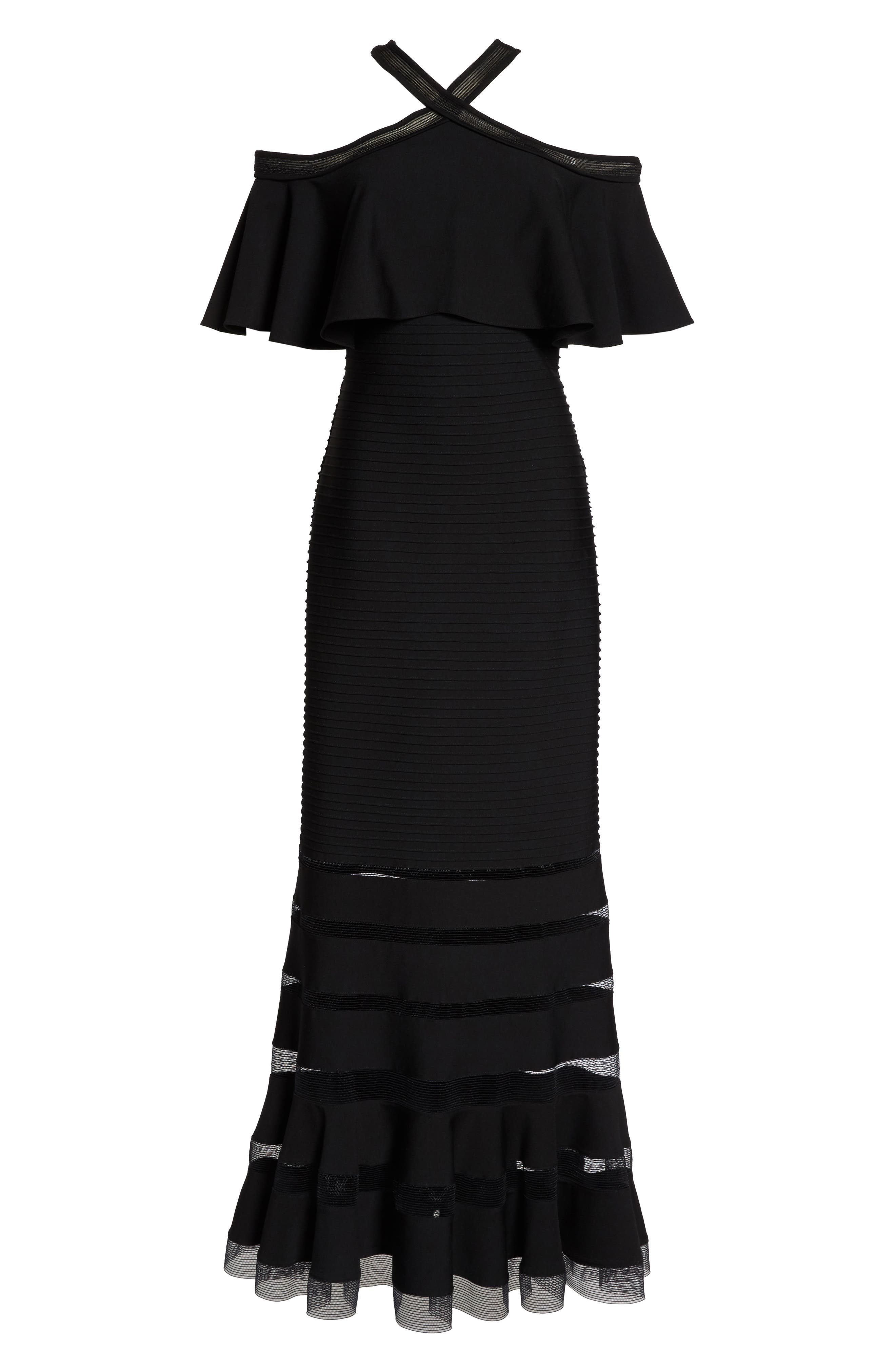 Jersey Cold-Shoulder Gown,                             Alternate thumbnail 6, color,                             Black
