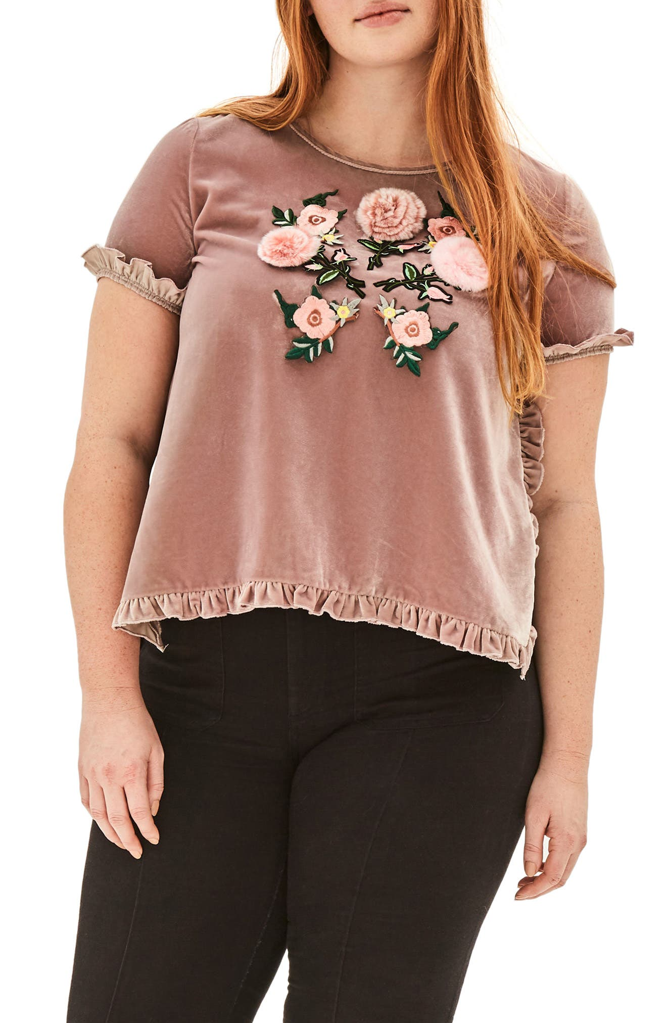Amaryllis Appliqué Velvet Top,                         Main,                         color, Purple