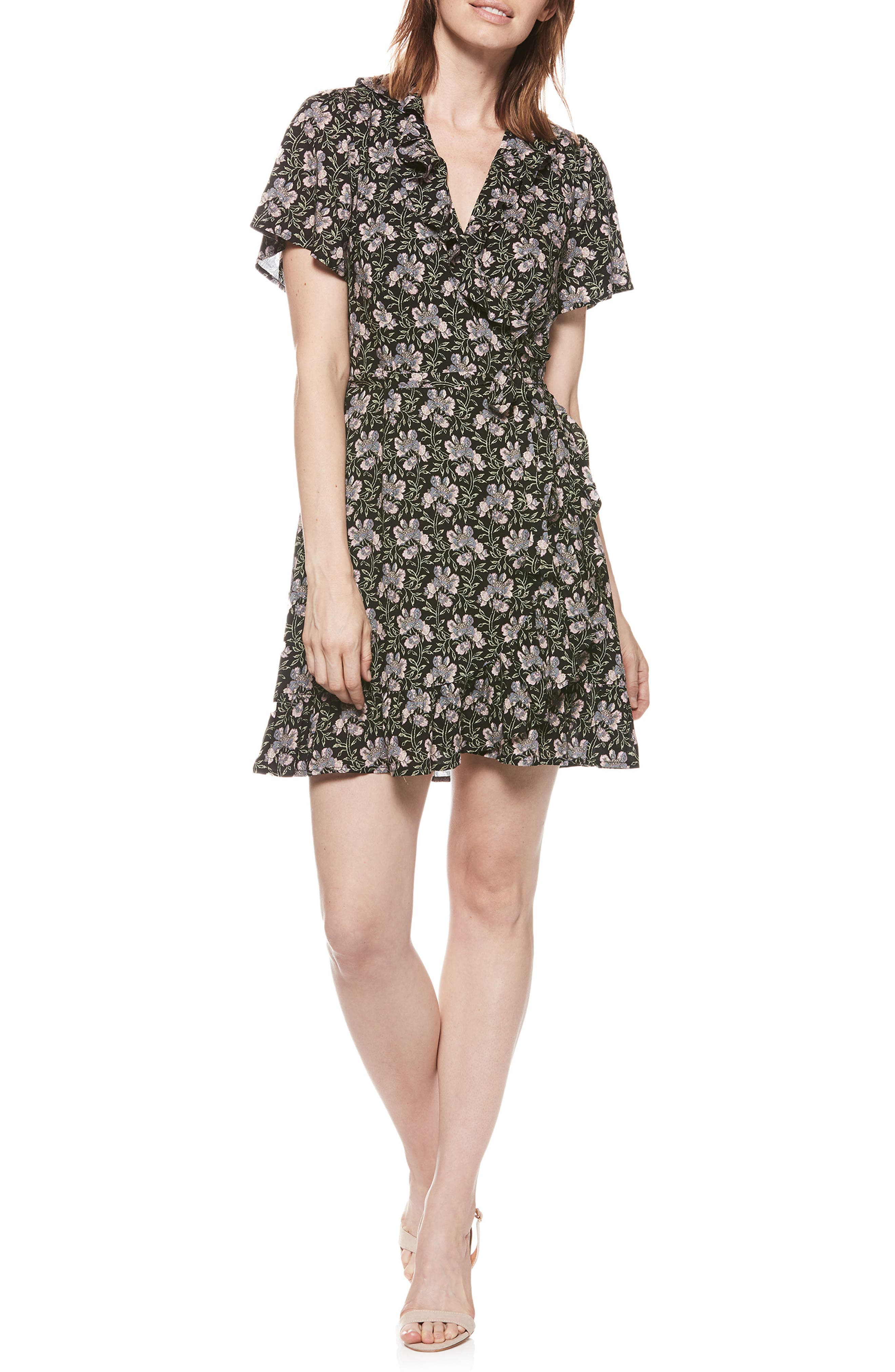 Cardamom Wrap Dress,                         Main,                         color, Storm Cloud Floral