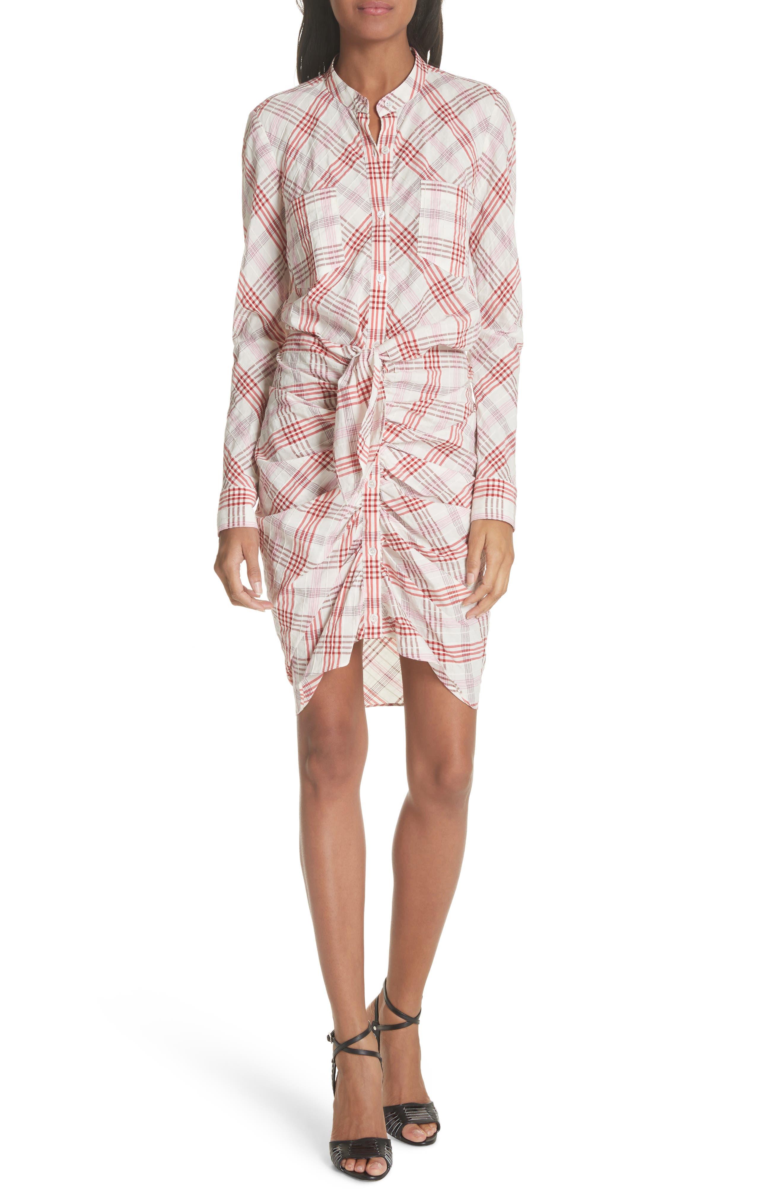 Della Gathered Plaid Dress,                         Main,                         color, Pink