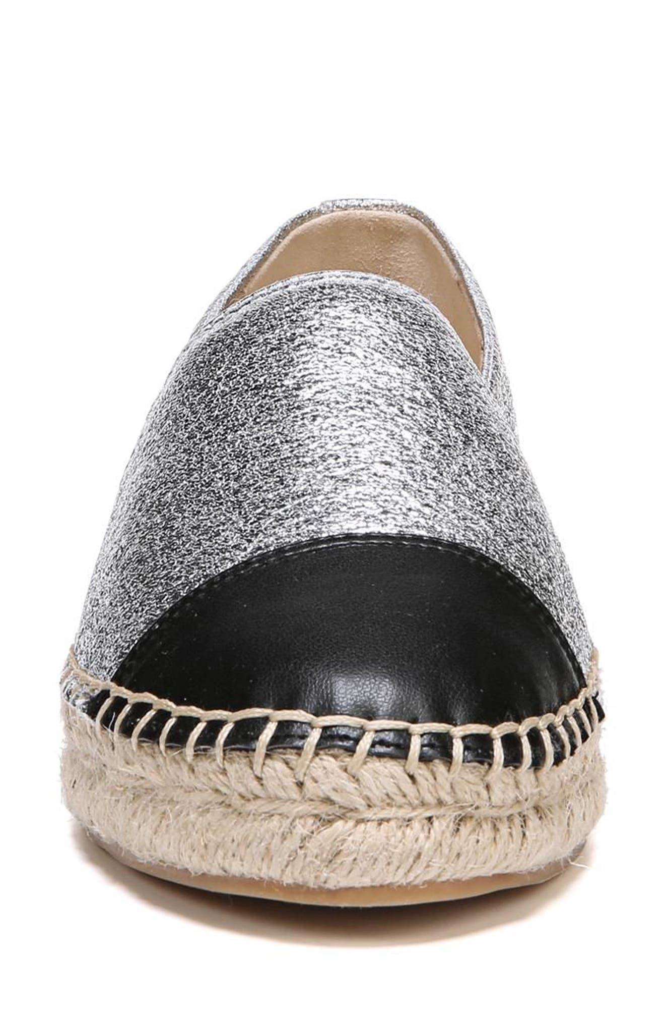 Krissy Espadrille Flat,                             Alternate thumbnail 4, color,                             Soft Silver Fabric