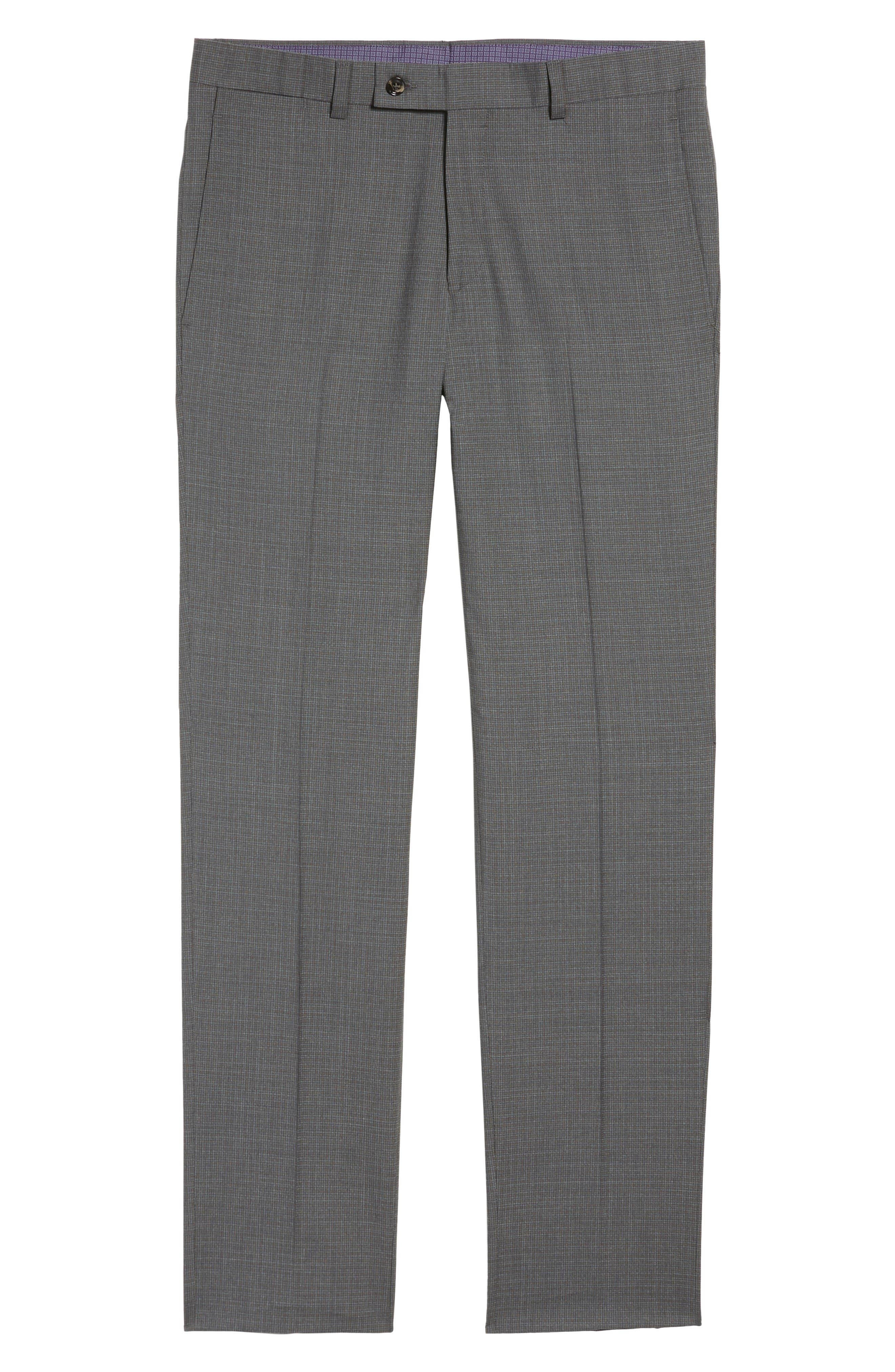 Jefferson Flat Front Wool Trousers,                             Alternate thumbnail 6, color,                             Grey