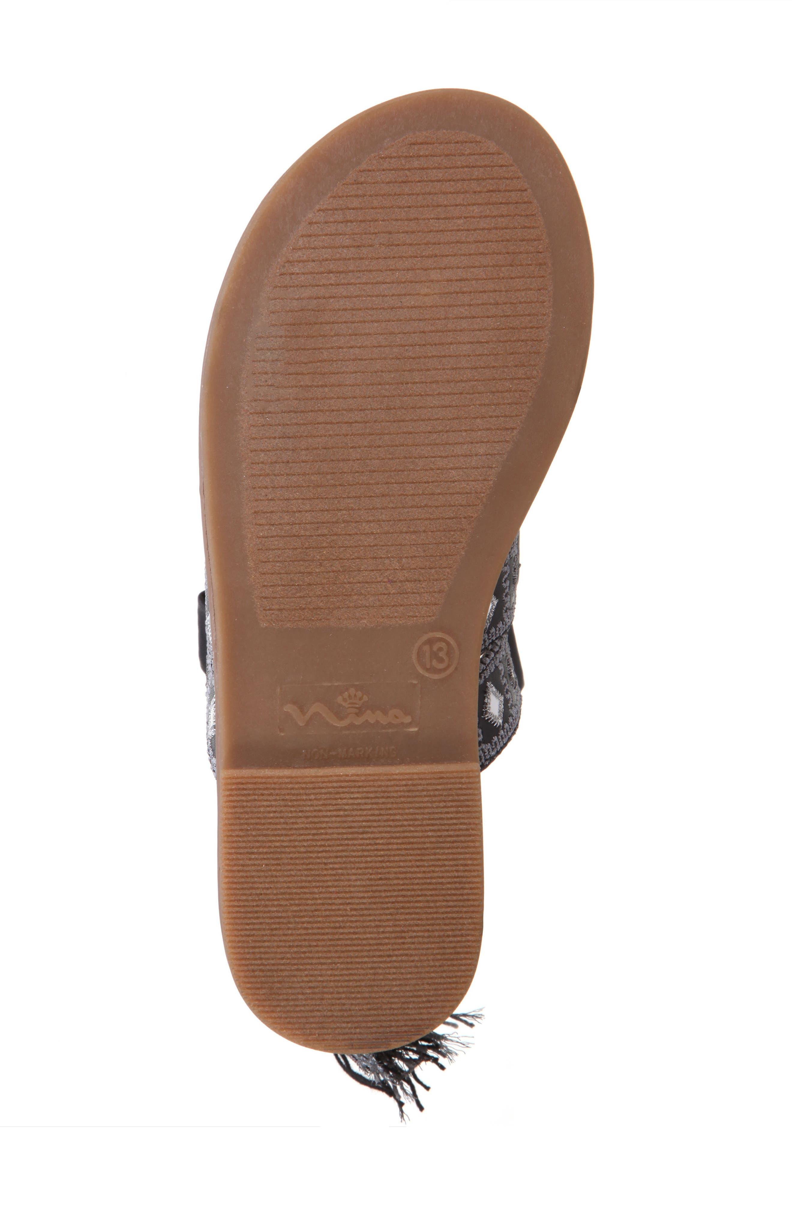 Sherryll Embellished Gladiator Sandal,                             Alternate thumbnail 5, color,                             Black Smooth