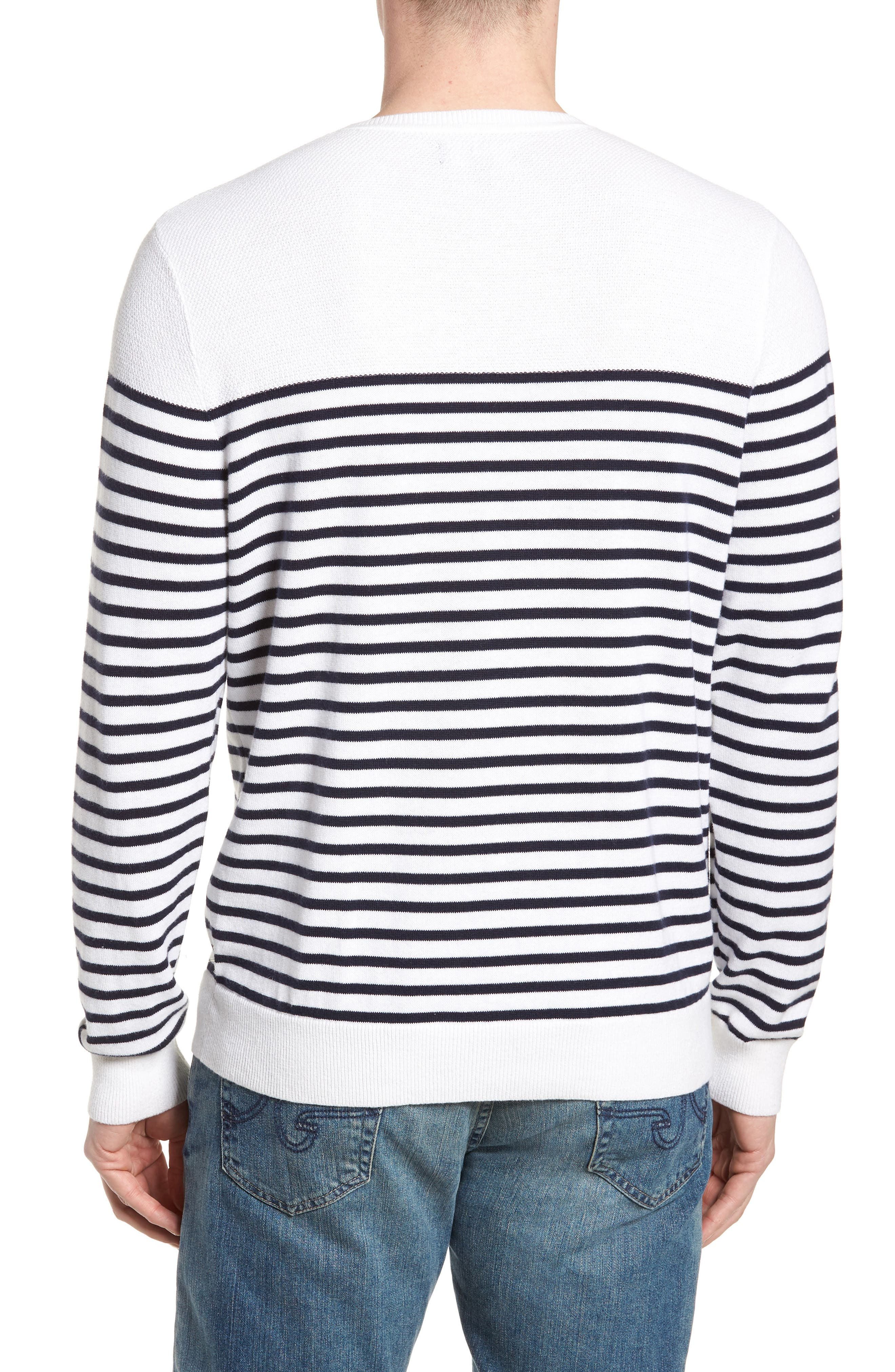 Breton Stripe Sweater,                             Alternate thumbnail 2, color,                             White Navy Stripe
