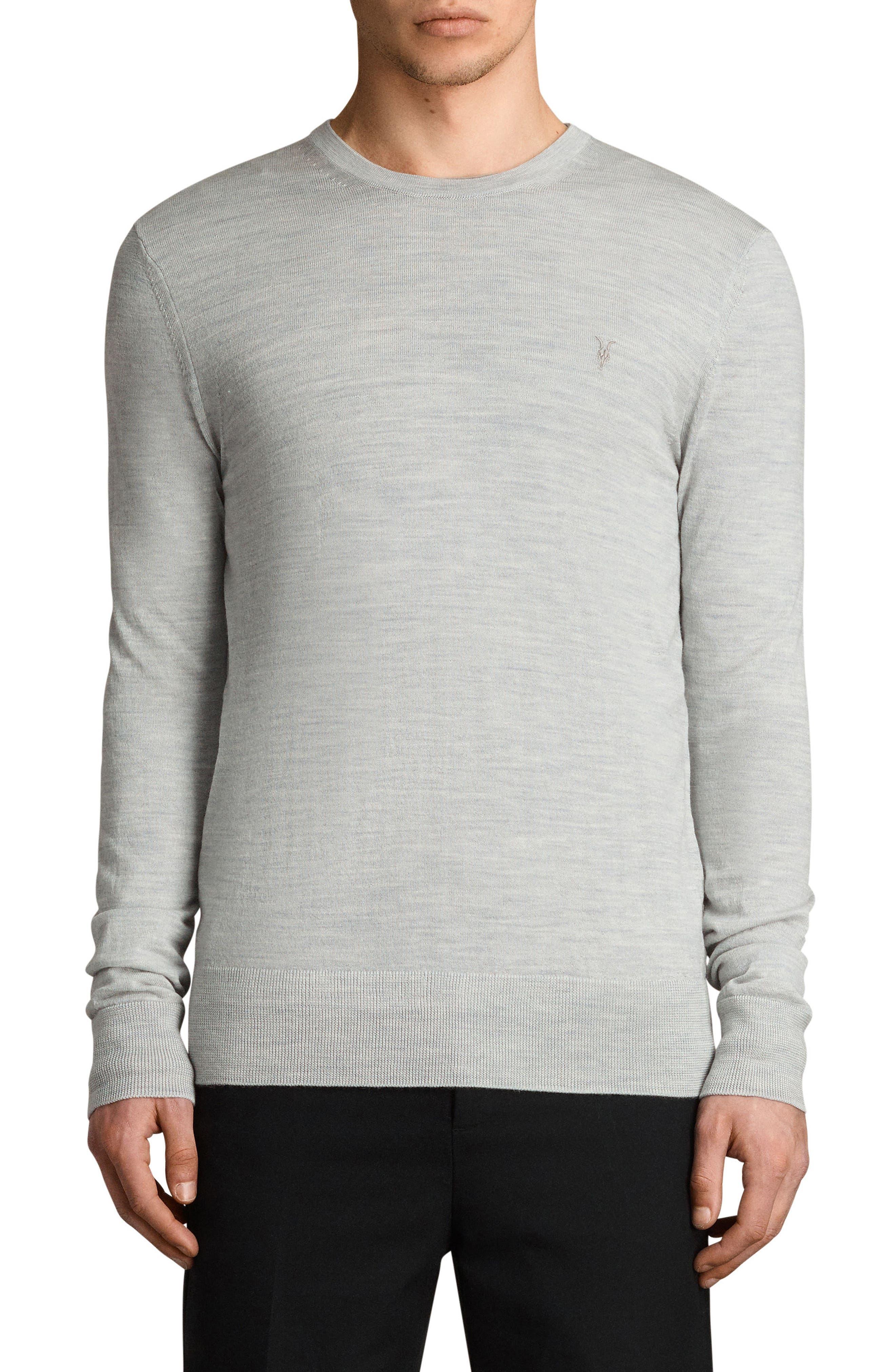 Mode Slim Fit Merino Wool Sweater,                         Main,                         color, Light Grey Marl