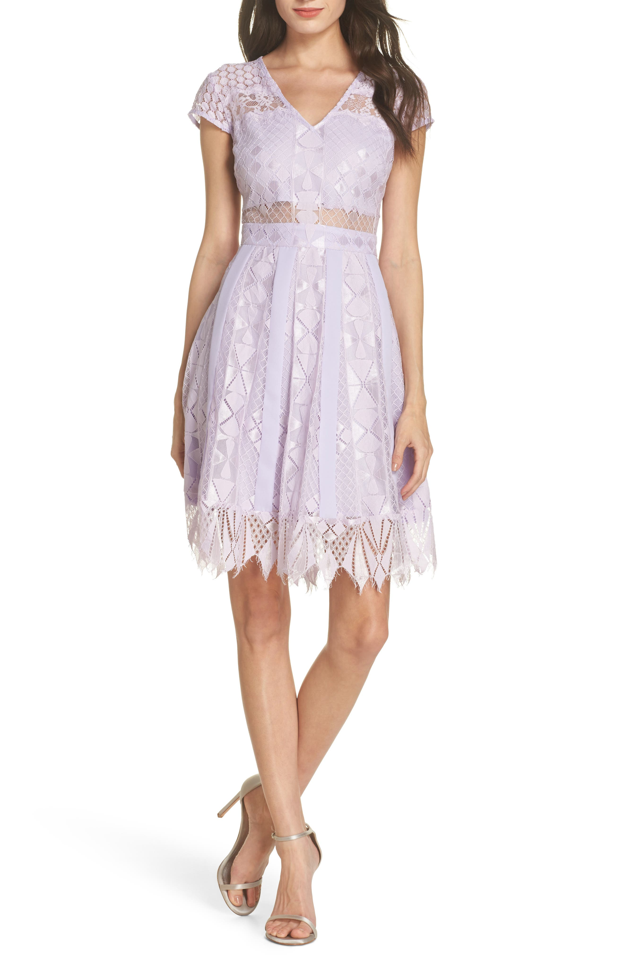 Florence Lace Fit & Flare Dress,                             Main thumbnail 1, color,                             Lilac