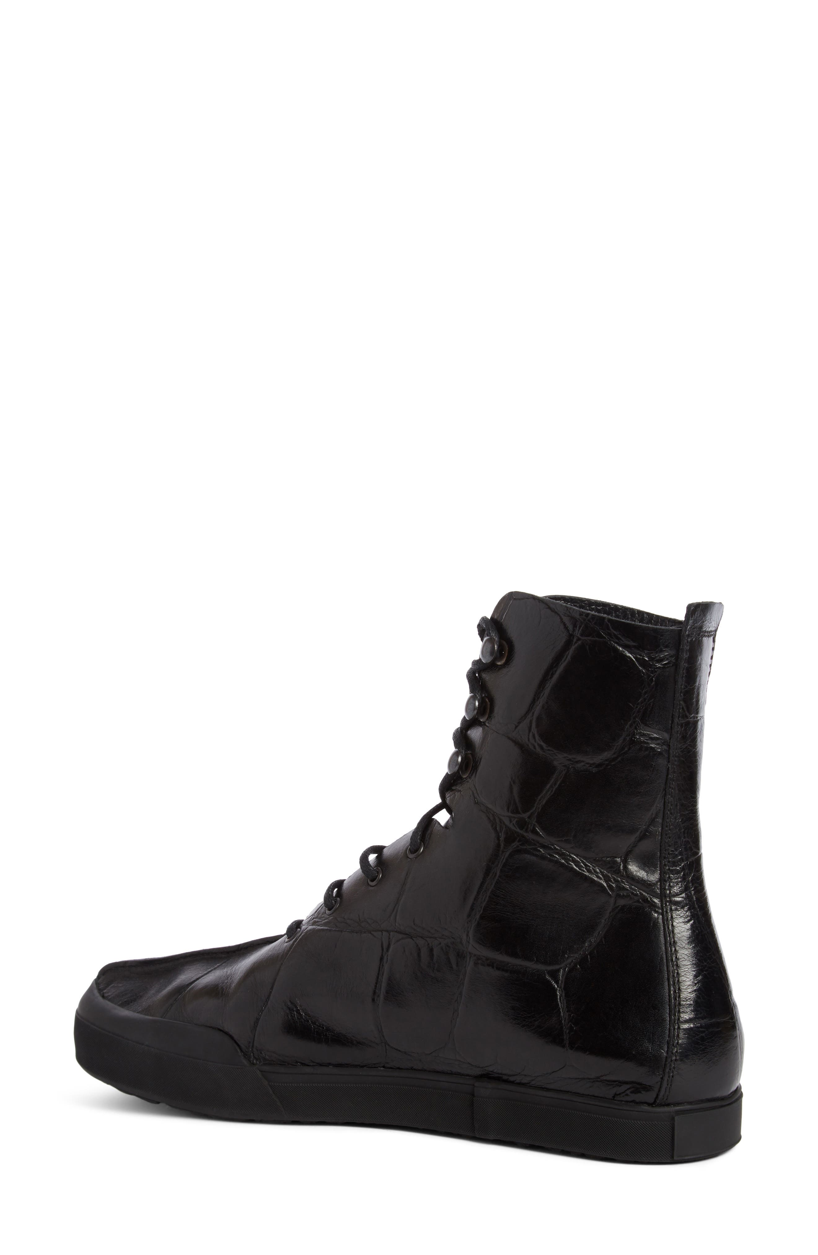 Croc Embossed Lace-Up Boot,                             Alternate thumbnail 2, color,                             Black