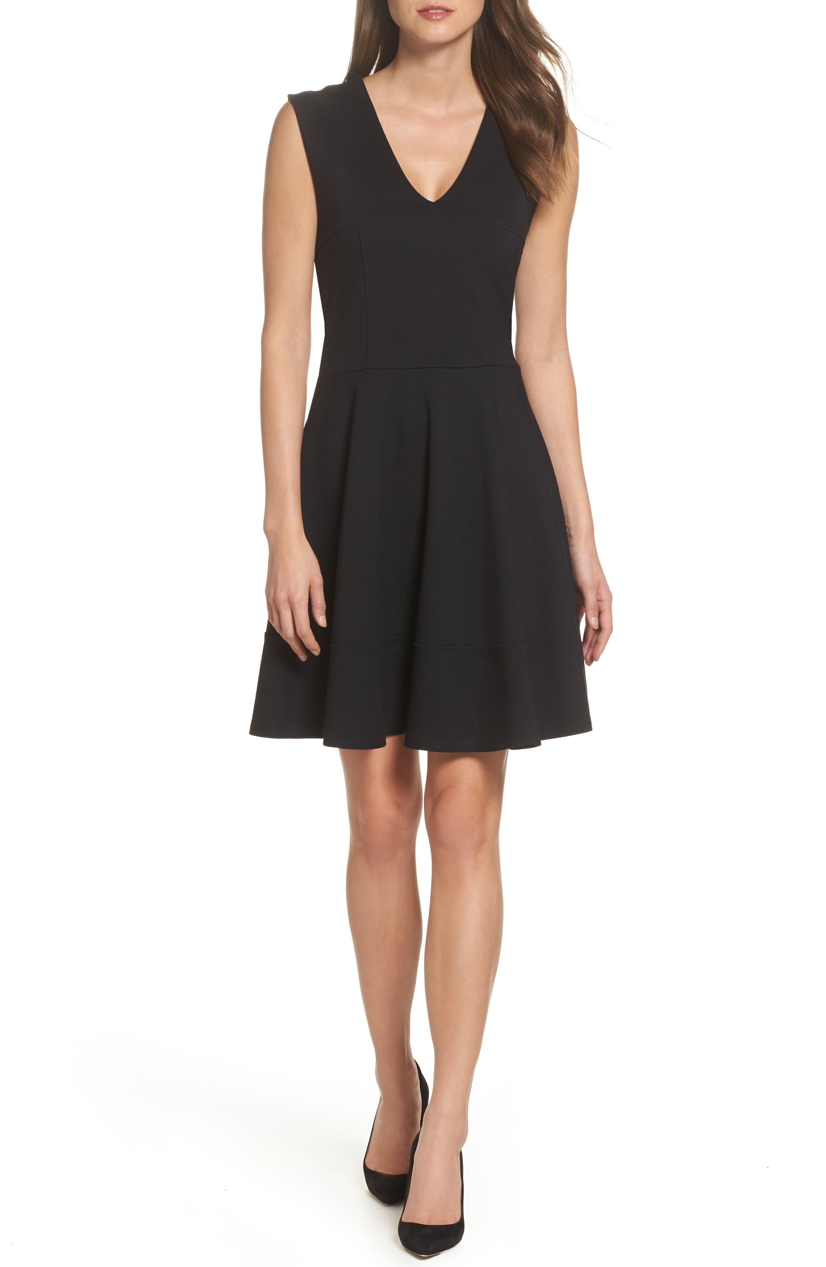 Lyla Fit & Flare Dress,                         Main,                         color, Black