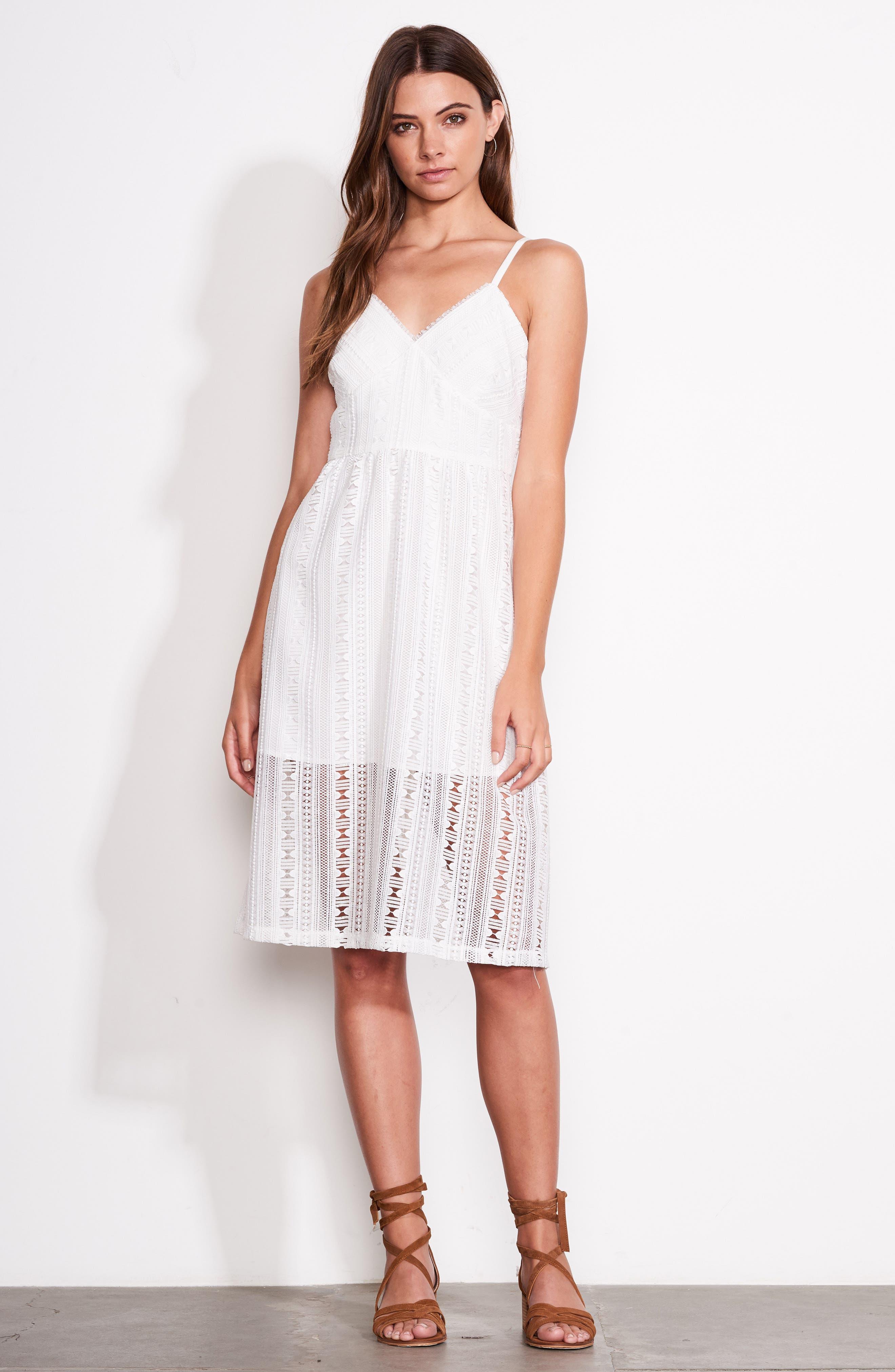 Belissimo Lace Fit & Flare Midi Dress,                             Alternate thumbnail 2, color,                             White
