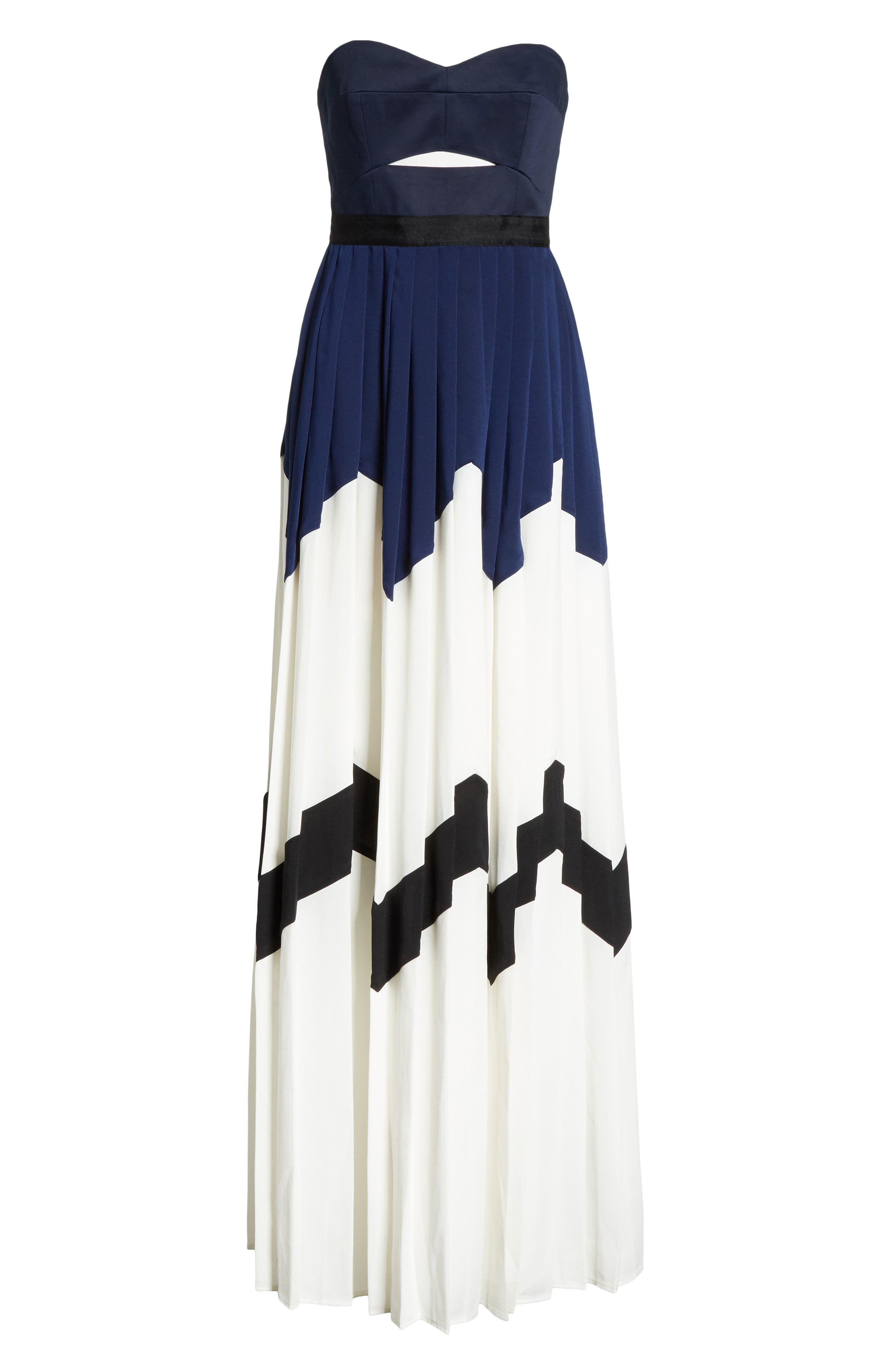 Pleated Bandeau Strapless Maxi Dress,                             Alternate thumbnail 6, color,                             Navy/ White