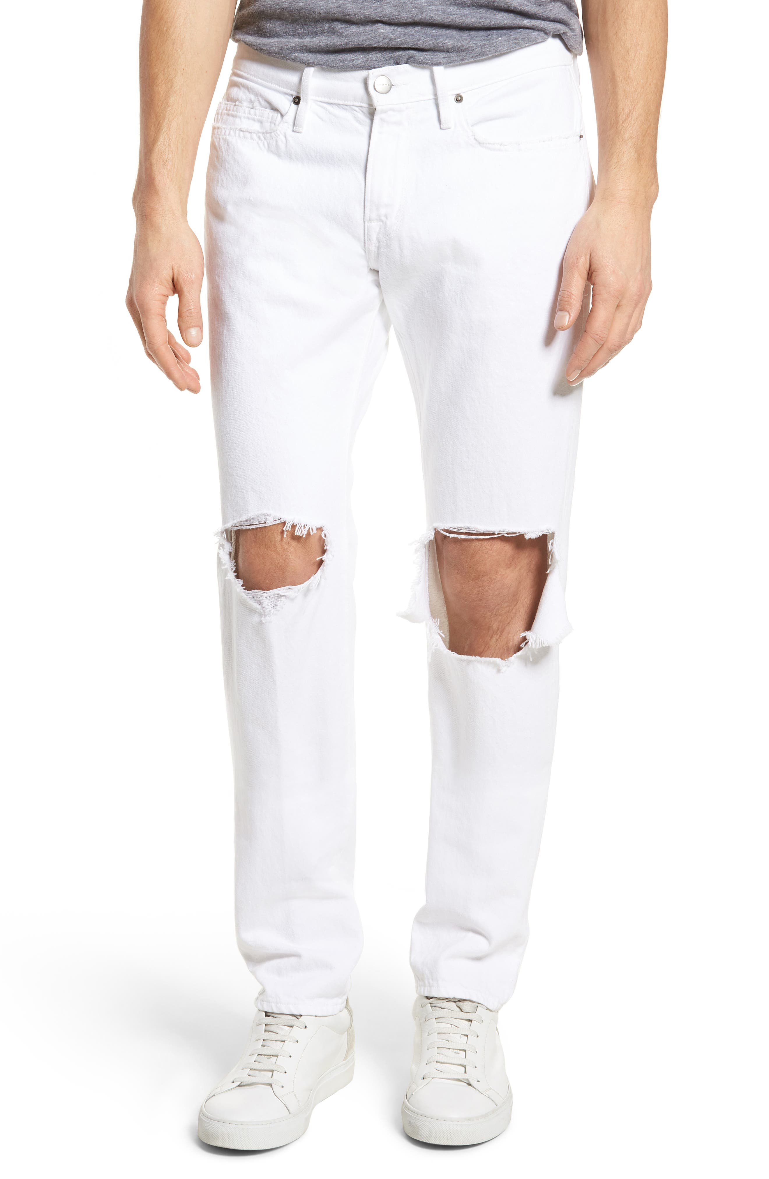 L'Homme Skinny Fit Jeans,                             Main thumbnail 1, color,                             White Out