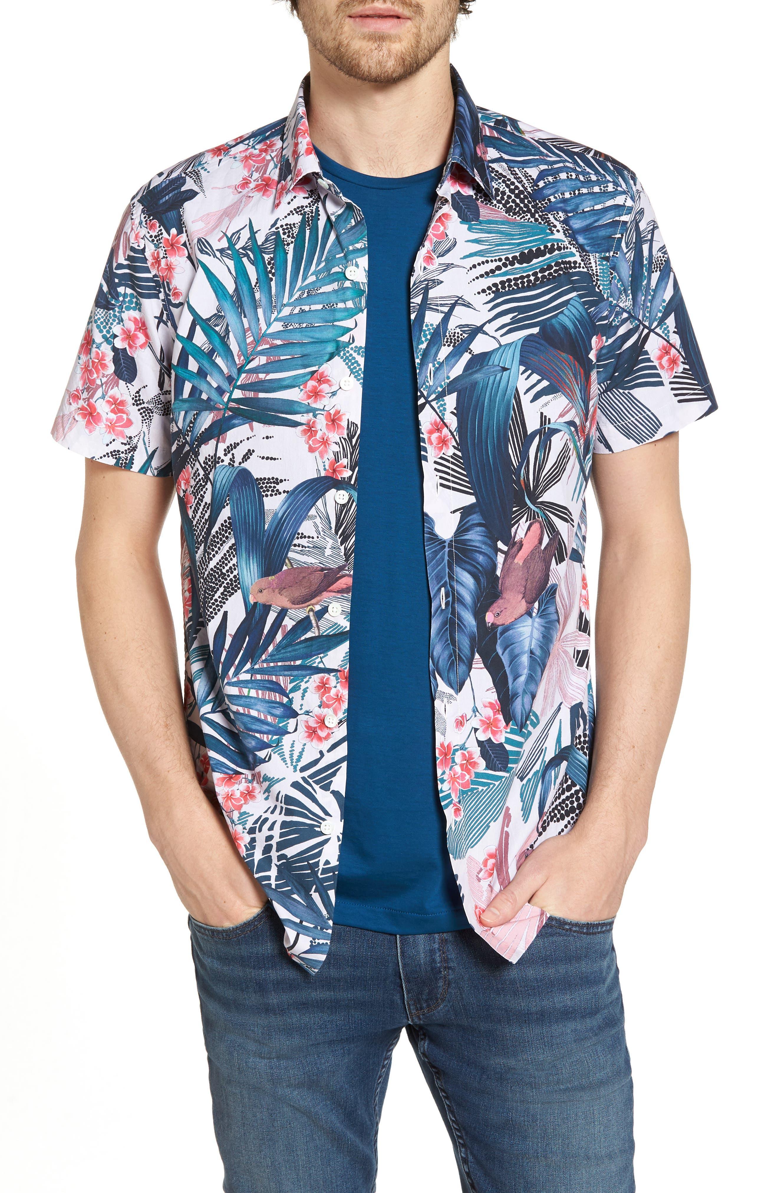 Premium Slim Fit Floral Print Sport Shirt,                         Main,                         color, Tropical Print