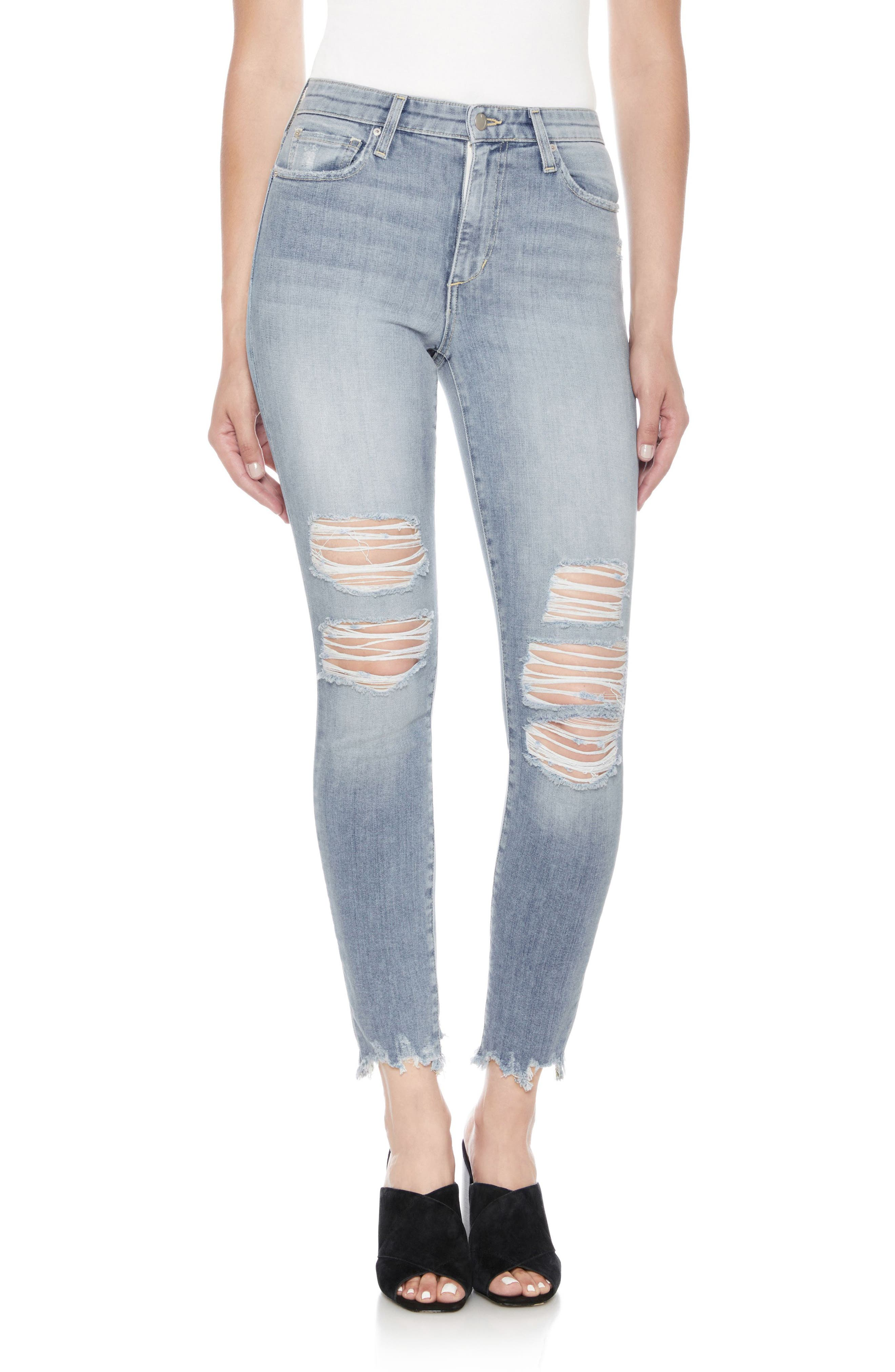 The Charlie High Waist Ripped Ankle Skinny Jeans,                             Main thumbnail 1, color,                             Dannika