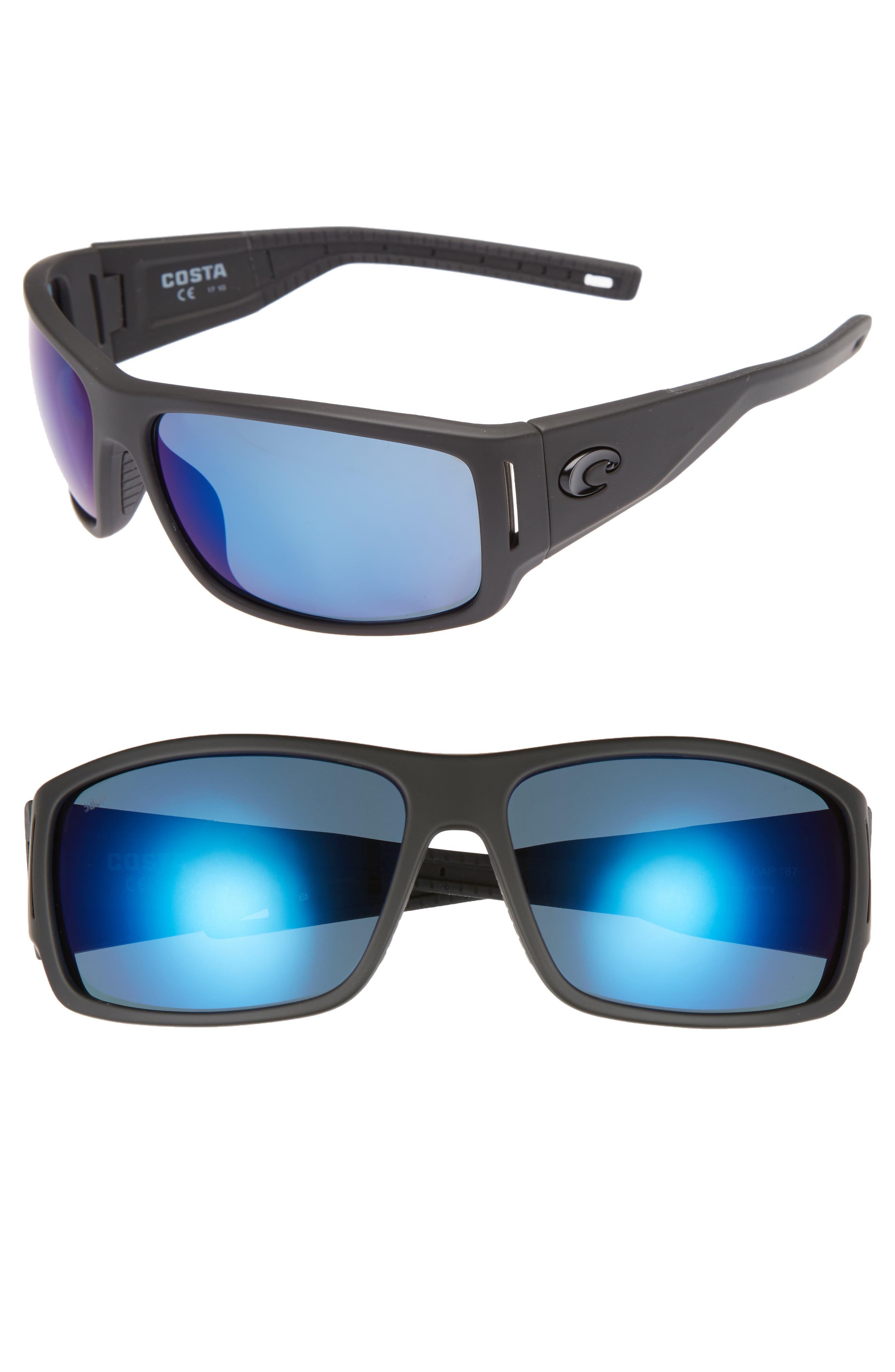 Cape 68mm Polarized Sunglasses,                         Main,                         color, Matte Black/ Blue Mirror