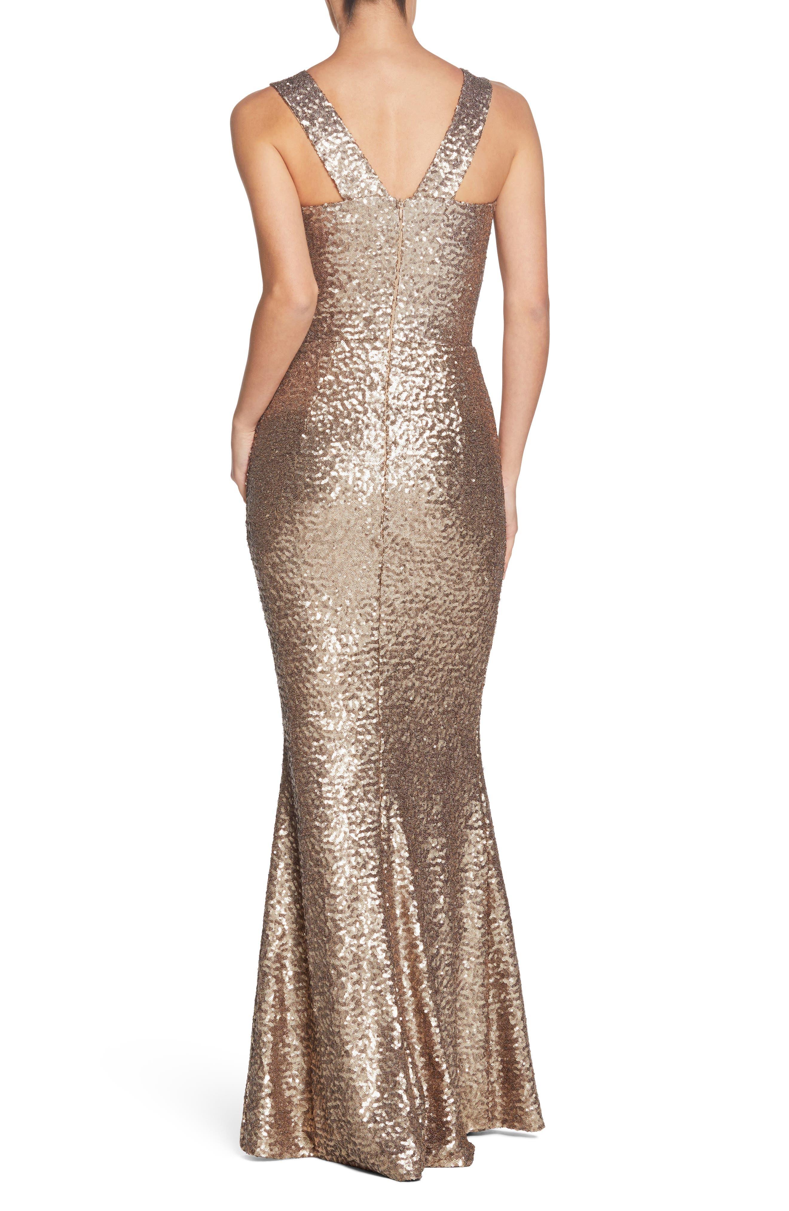 Raven Sequin Gown,                             Alternate thumbnail 2, color,                             Brass