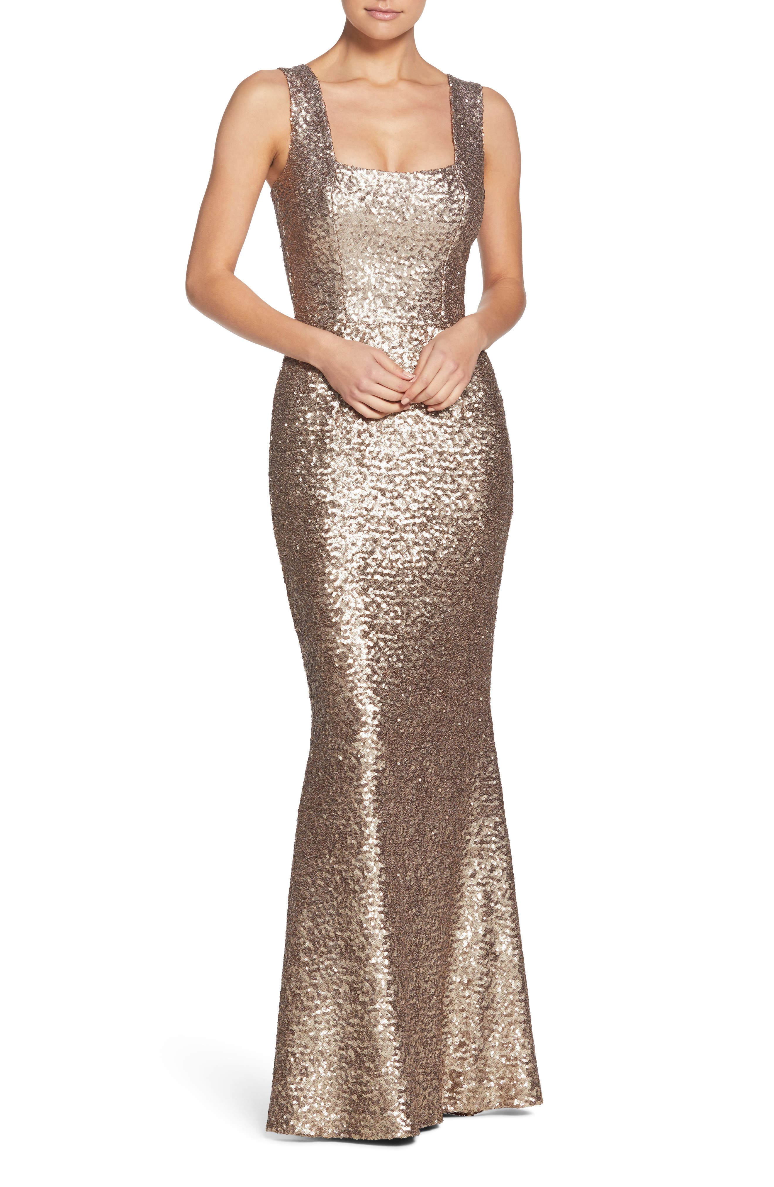 Raven Sequin Gown,                         Main,                         color, Brass