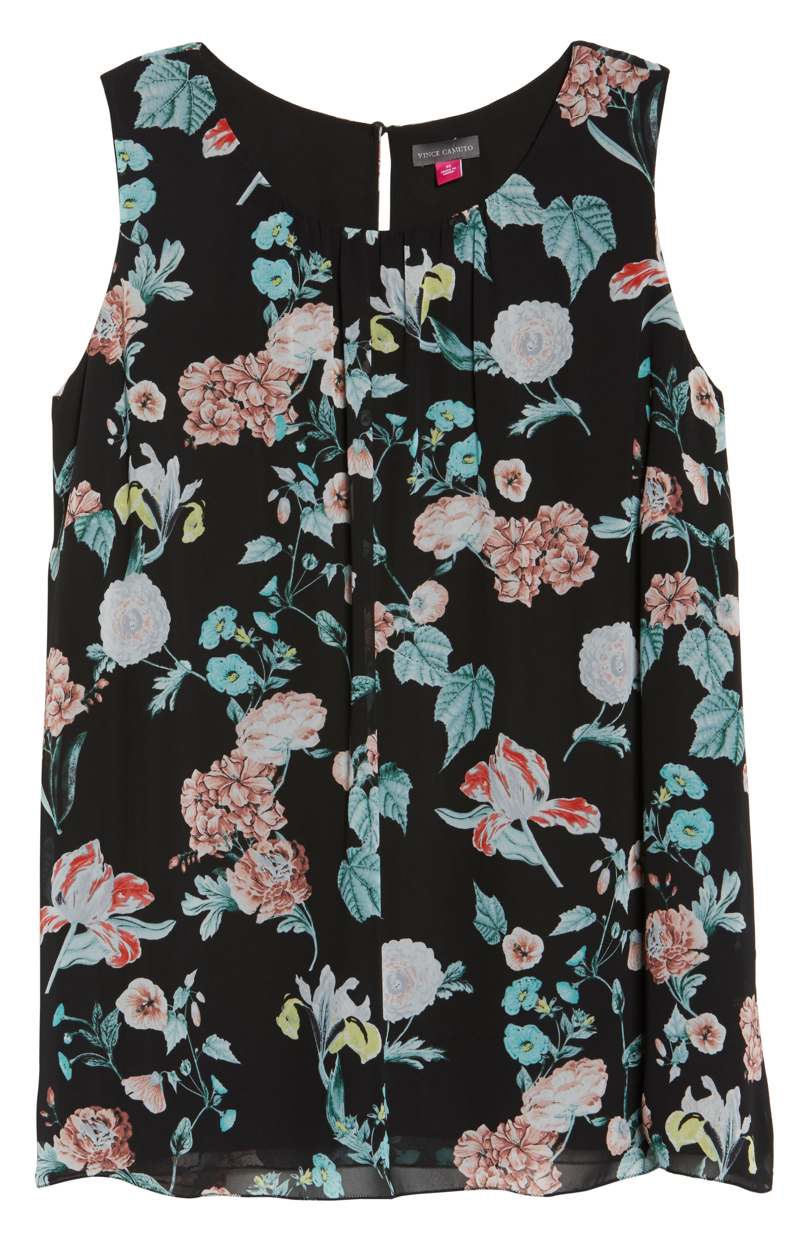 Sleeveless Floral Gardens Top,                             Alternate thumbnail 6, color,                             Rich Black