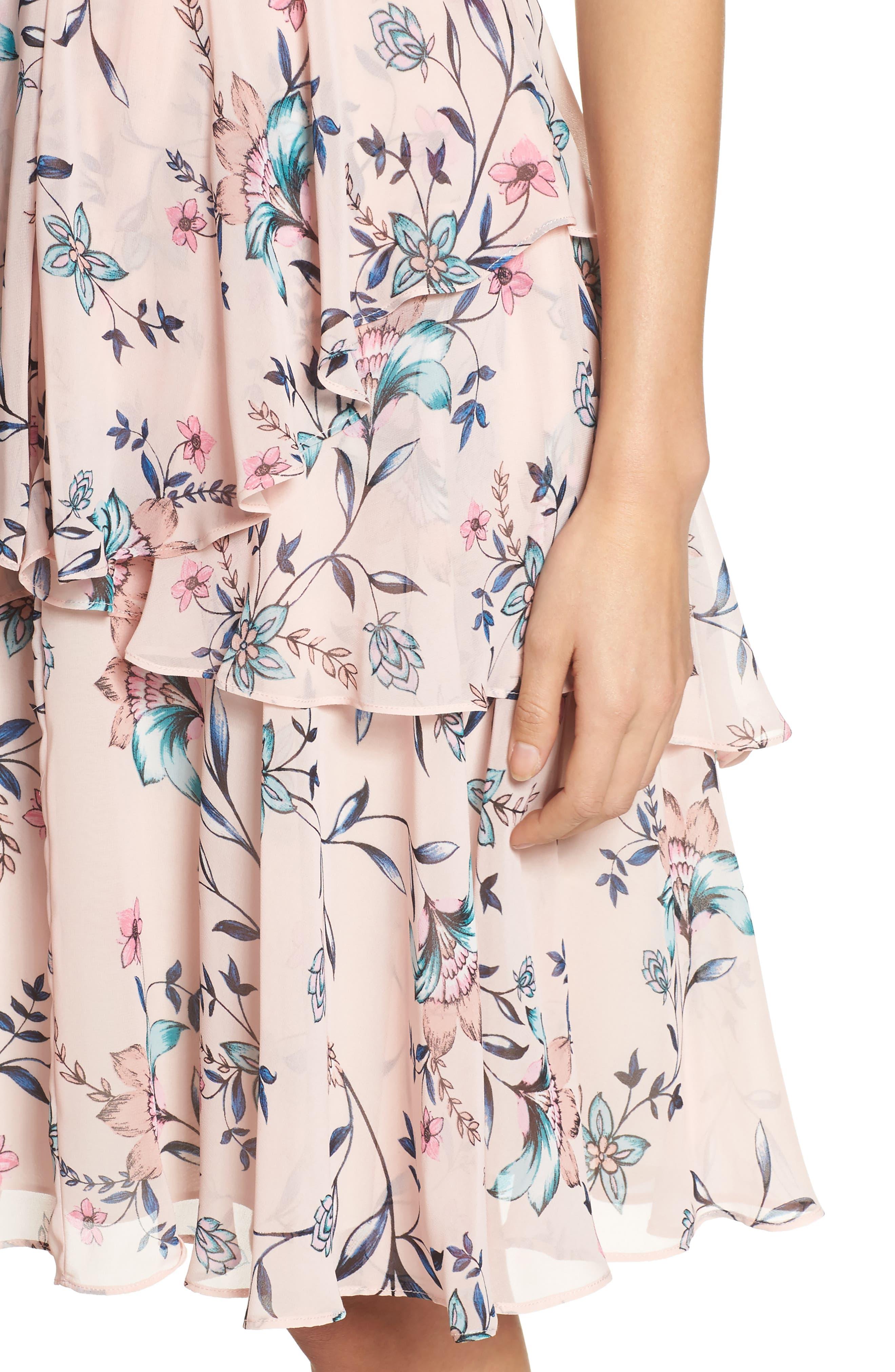 Floral Ruffle Dress,                             Alternate thumbnail 4, color,                             Blush