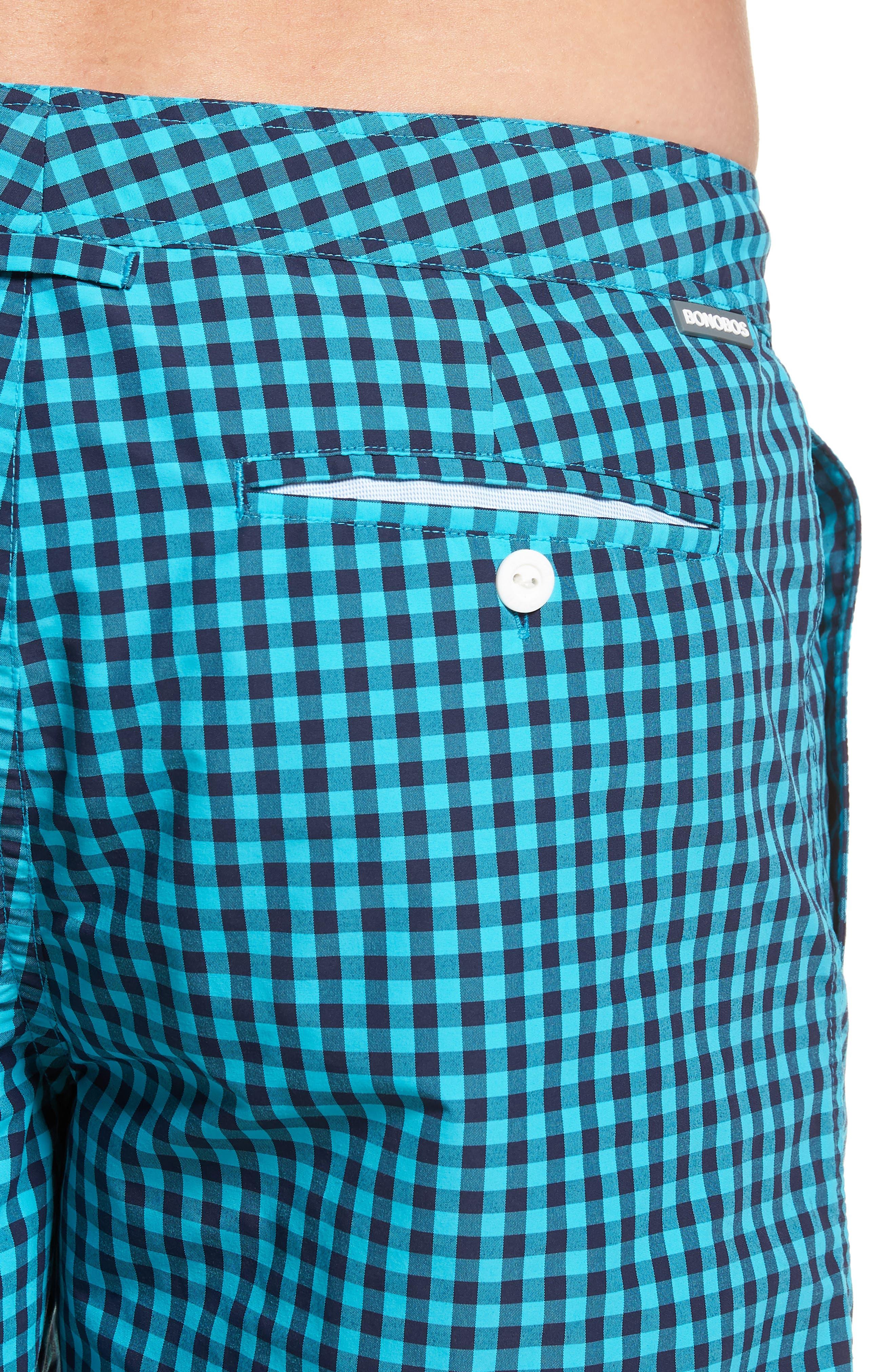Gingham 7-Inch Swim Trunks,                             Alternate thumbnail 4, color,                             Gulfstream Gingham Scuba Blue