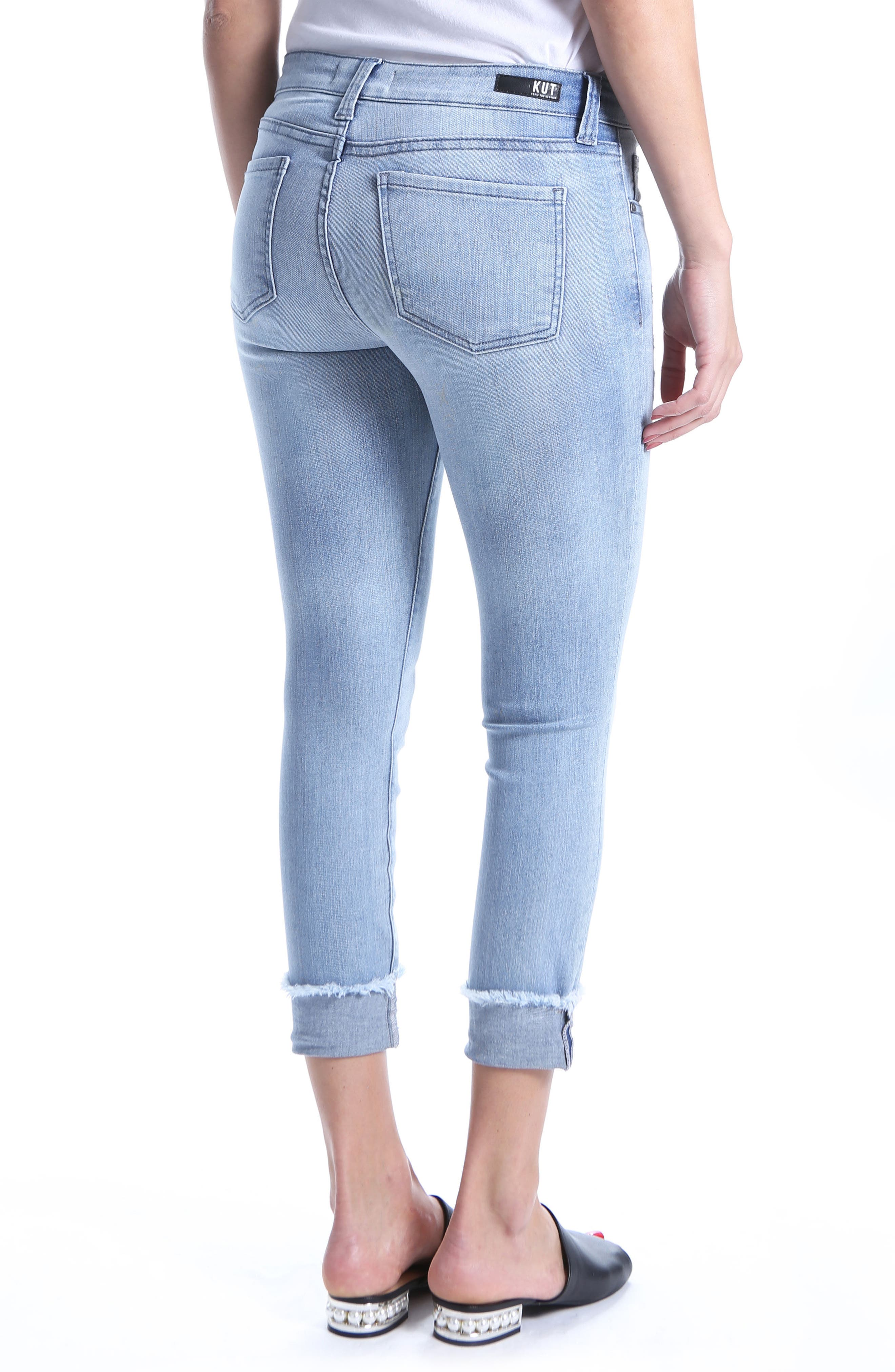 Connie Distressed Frayed Hem Ankle Skinny Jeans,                             Alternate thumbnail 2, color,                             Esthetic