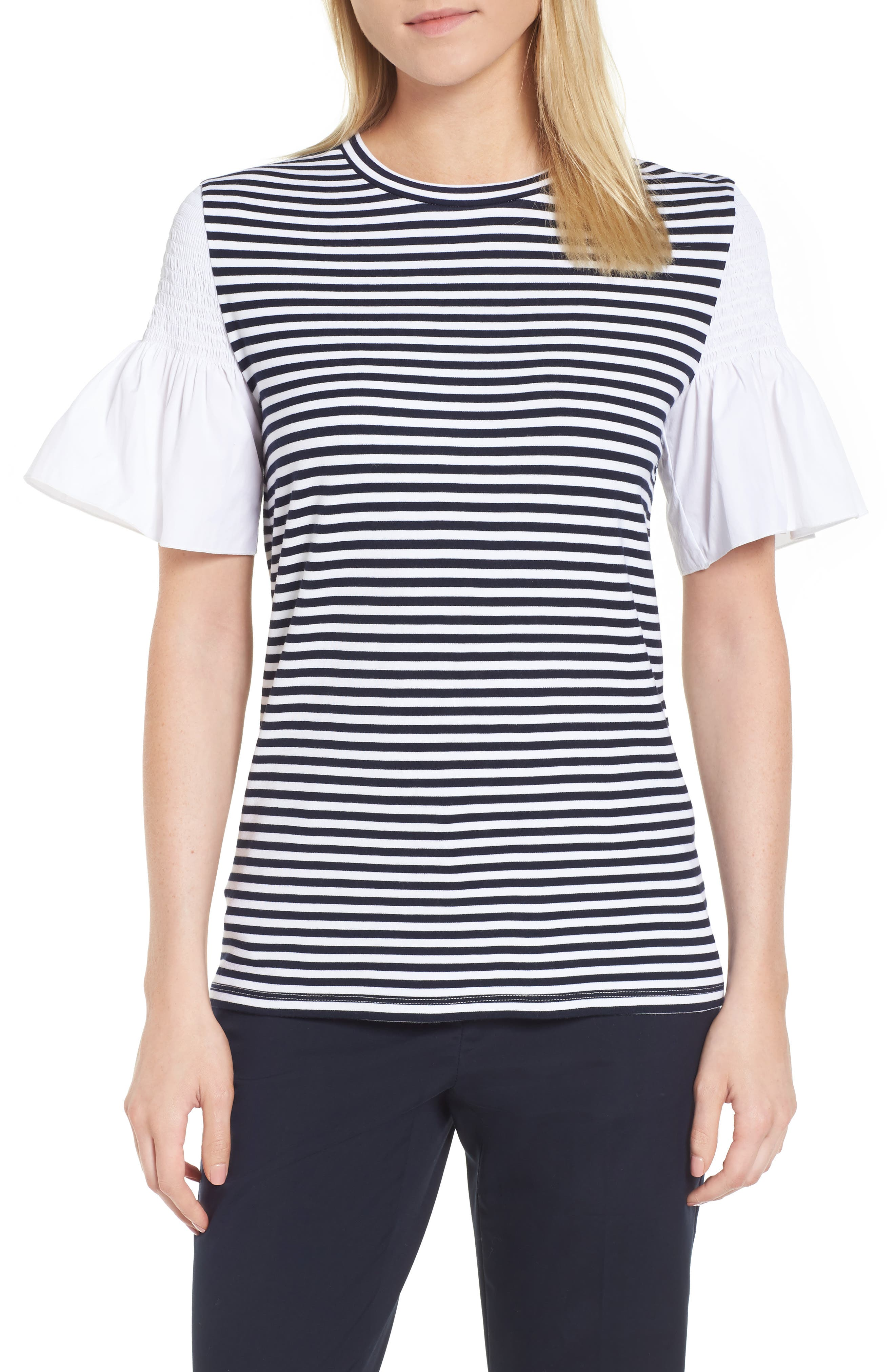 Main Image - Nordstrom Signature Contrast Sleeve Stripe Tee