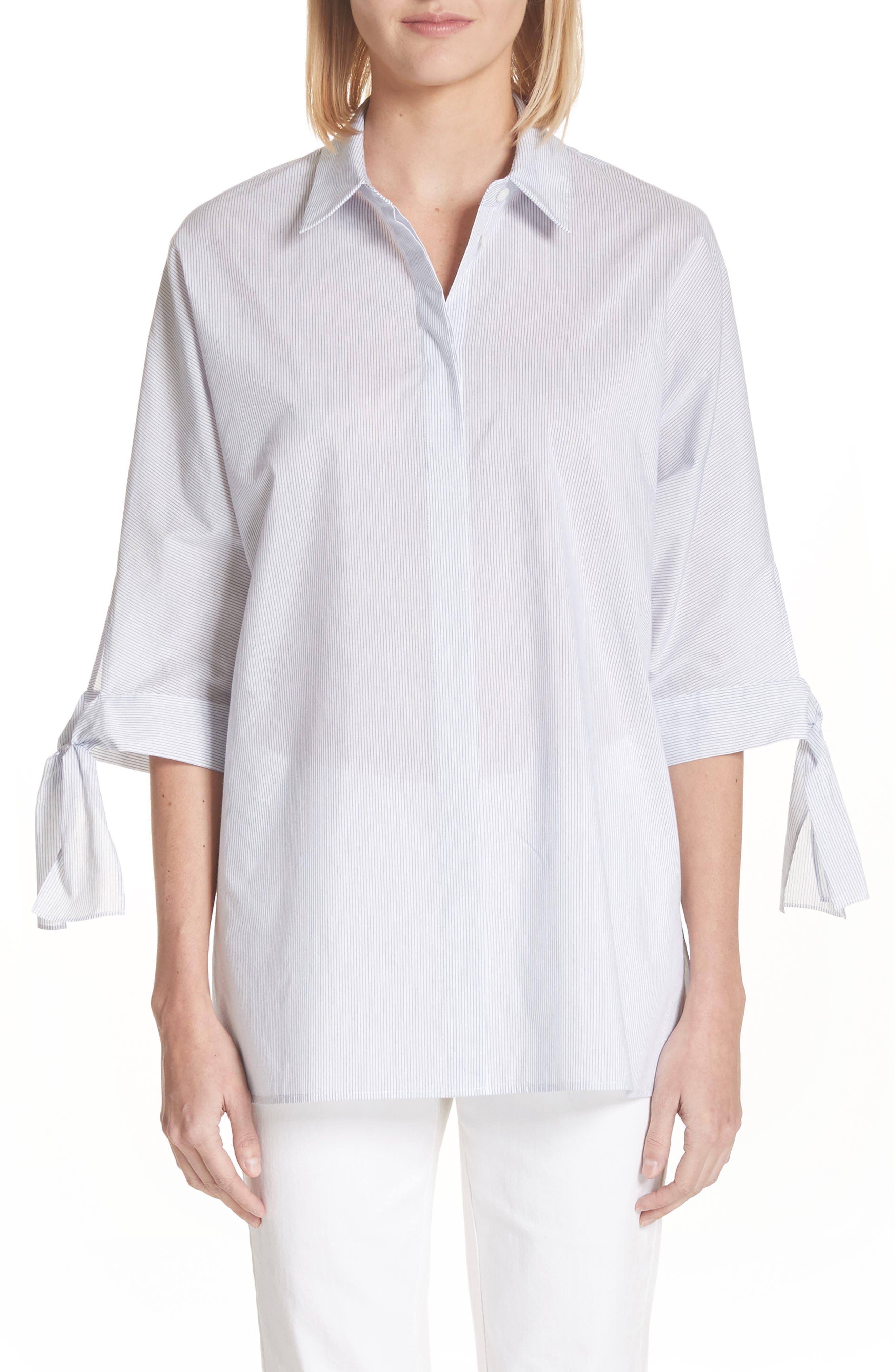 Breezy Stripe Saige Blouse,                             Main thumbnail 1, color,                             White Multi