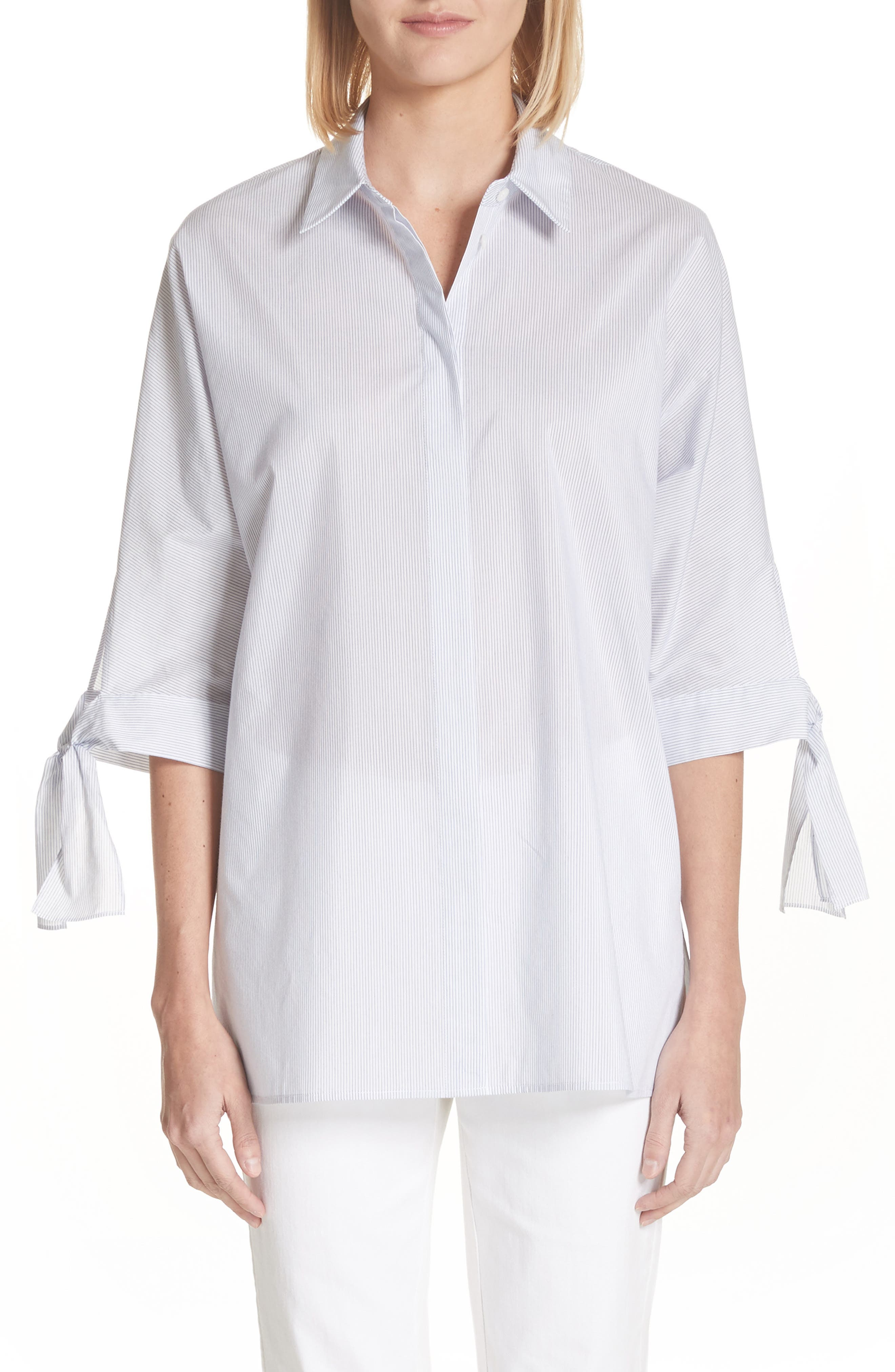 Breezy Stripe Saige Blouse,                         Main,                         color, White Multi