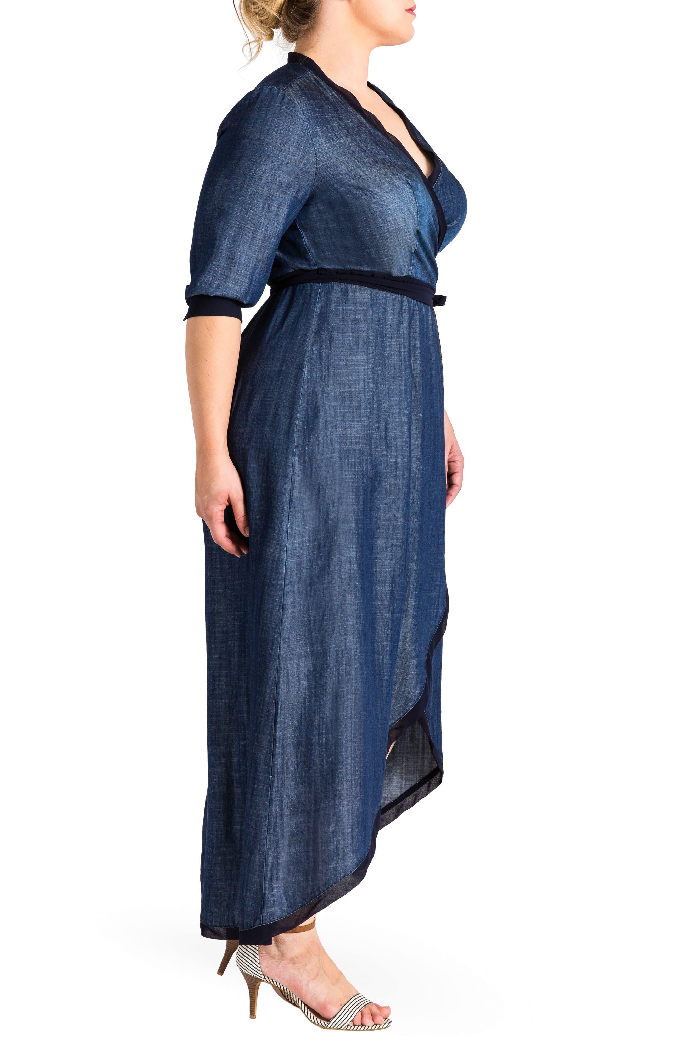 Elle Wrap Maxi Dress,                             Alternate thumbnail 3, color,                             Medium Blue