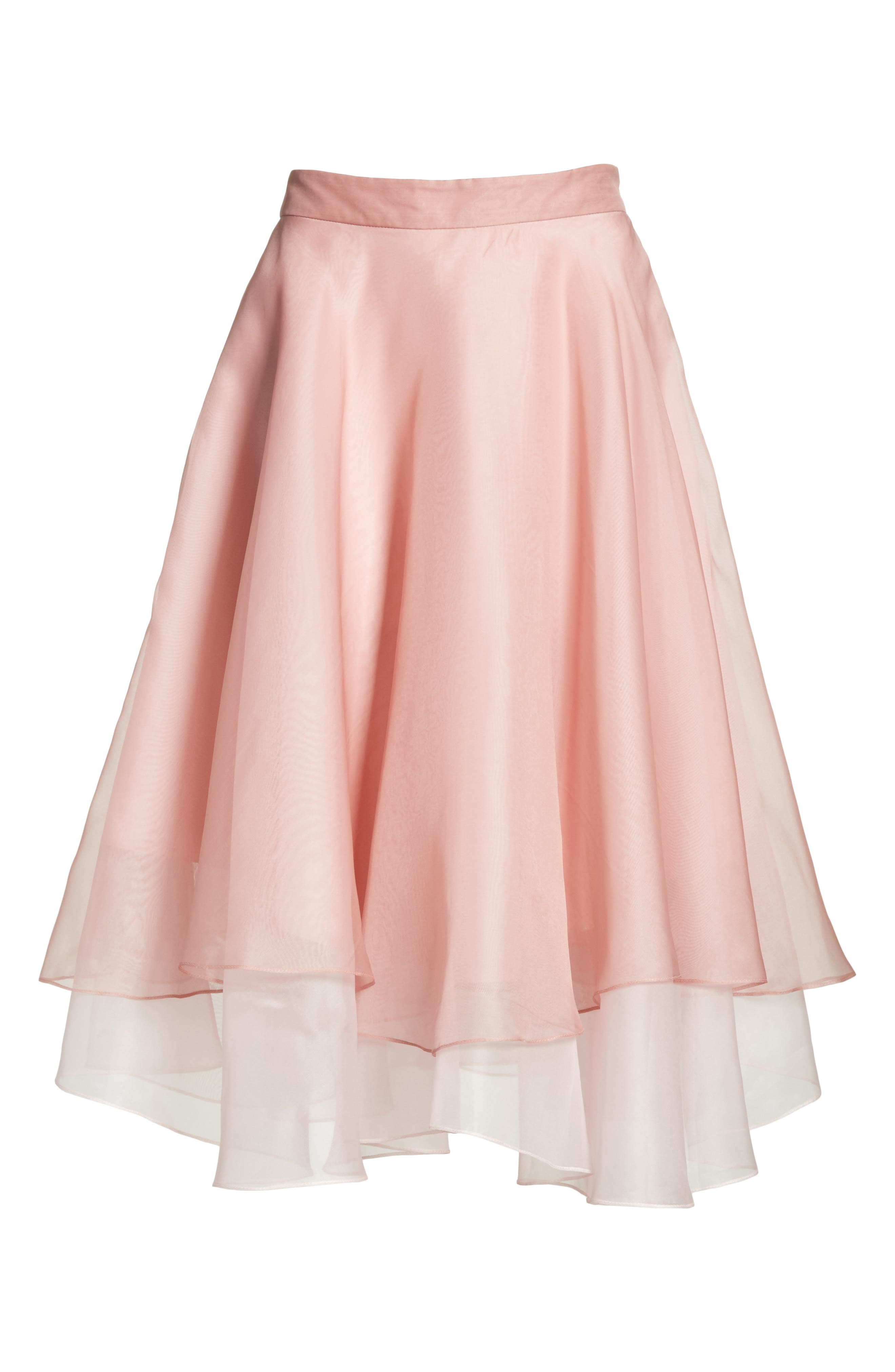 Layered Organza A-Line Skirt,                             Alternate thumbnail 6, color,                             Nude/ Petal