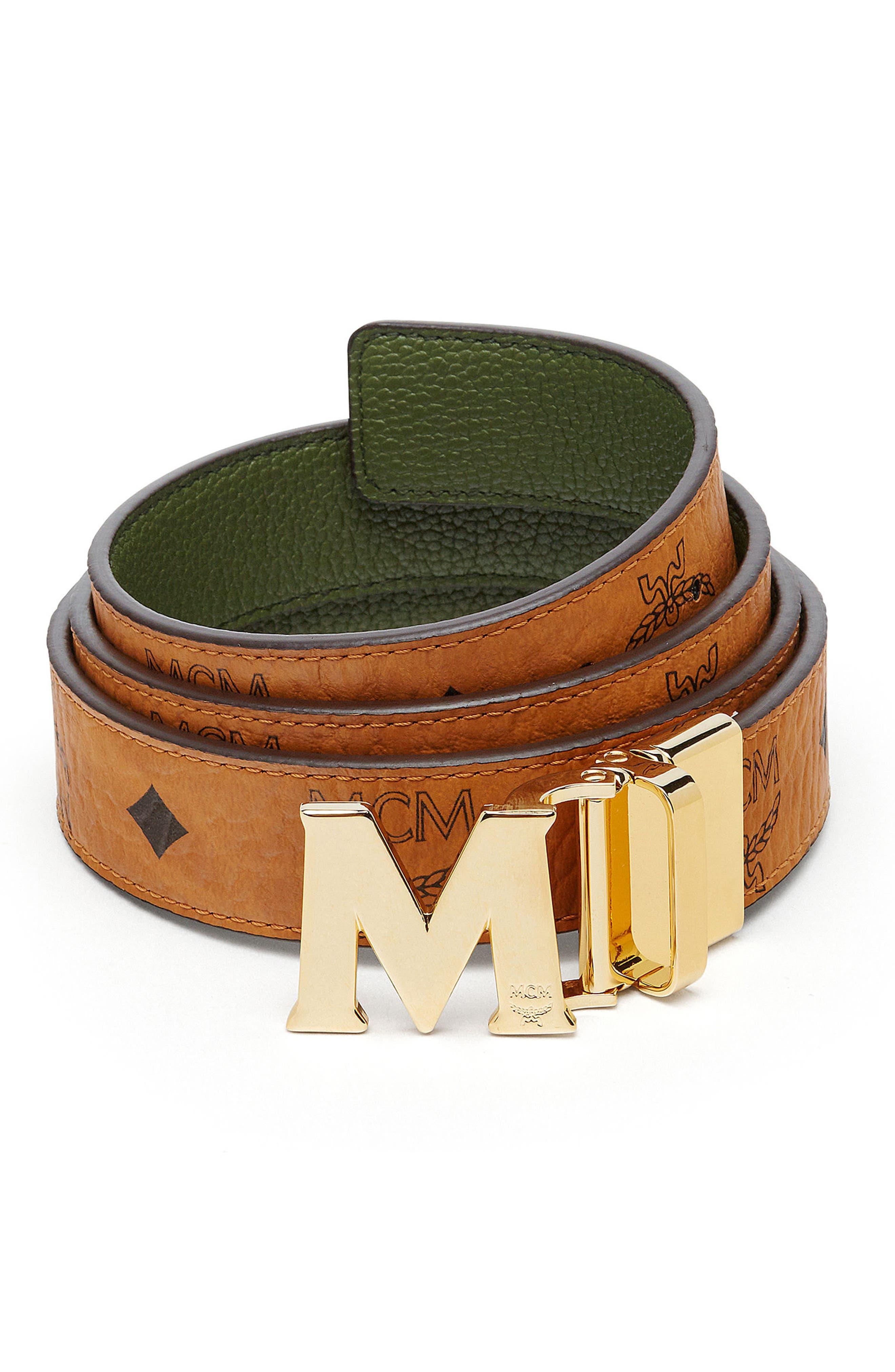 Visetos Reversible Leather Belt,                             Main thumbnail 1, color,                             Cognac/ Loden Green