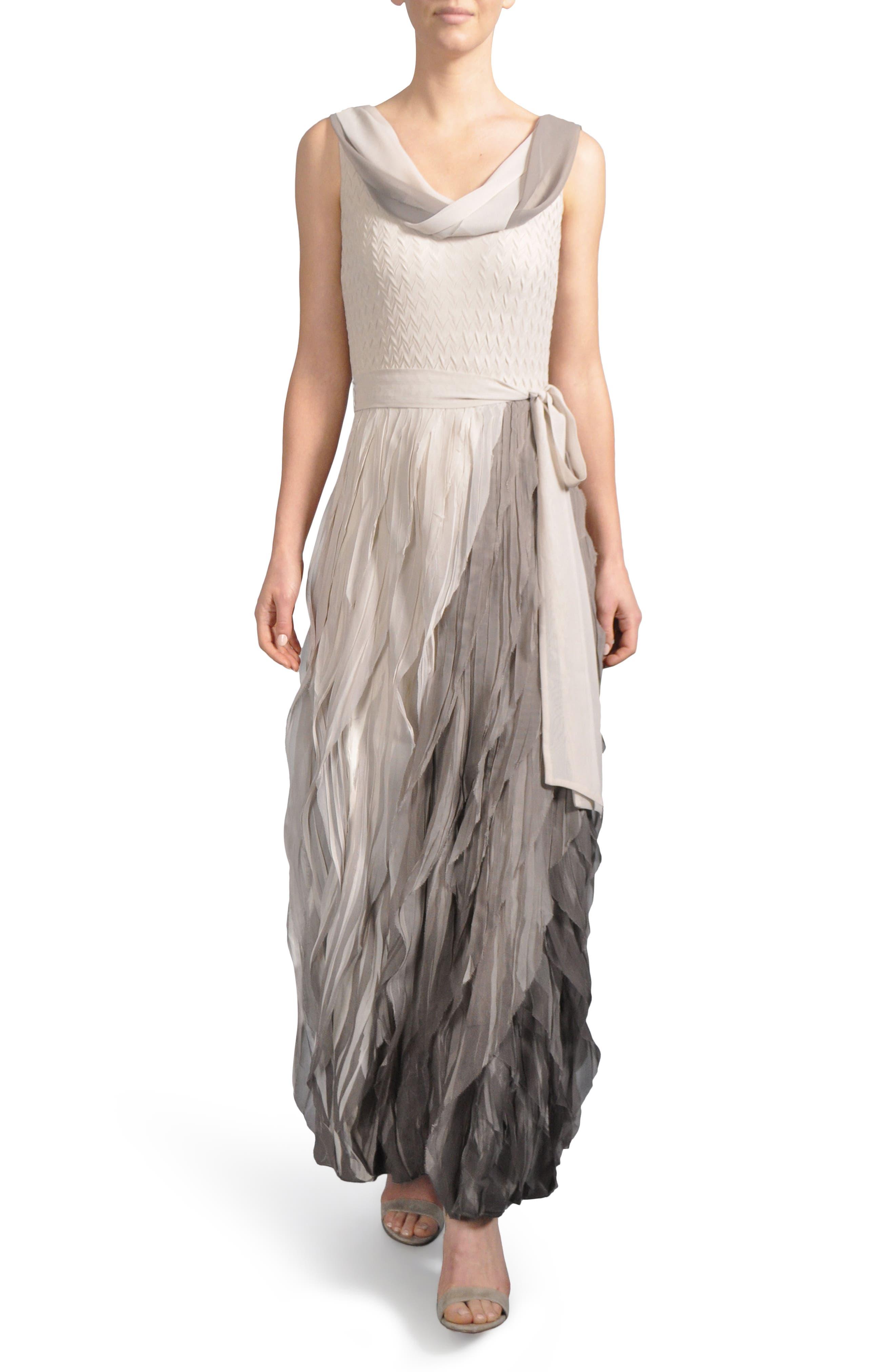 Ombré Cowl Neck Ruffle Gown,                         Main,                         color, Neutral Smoke Ombre