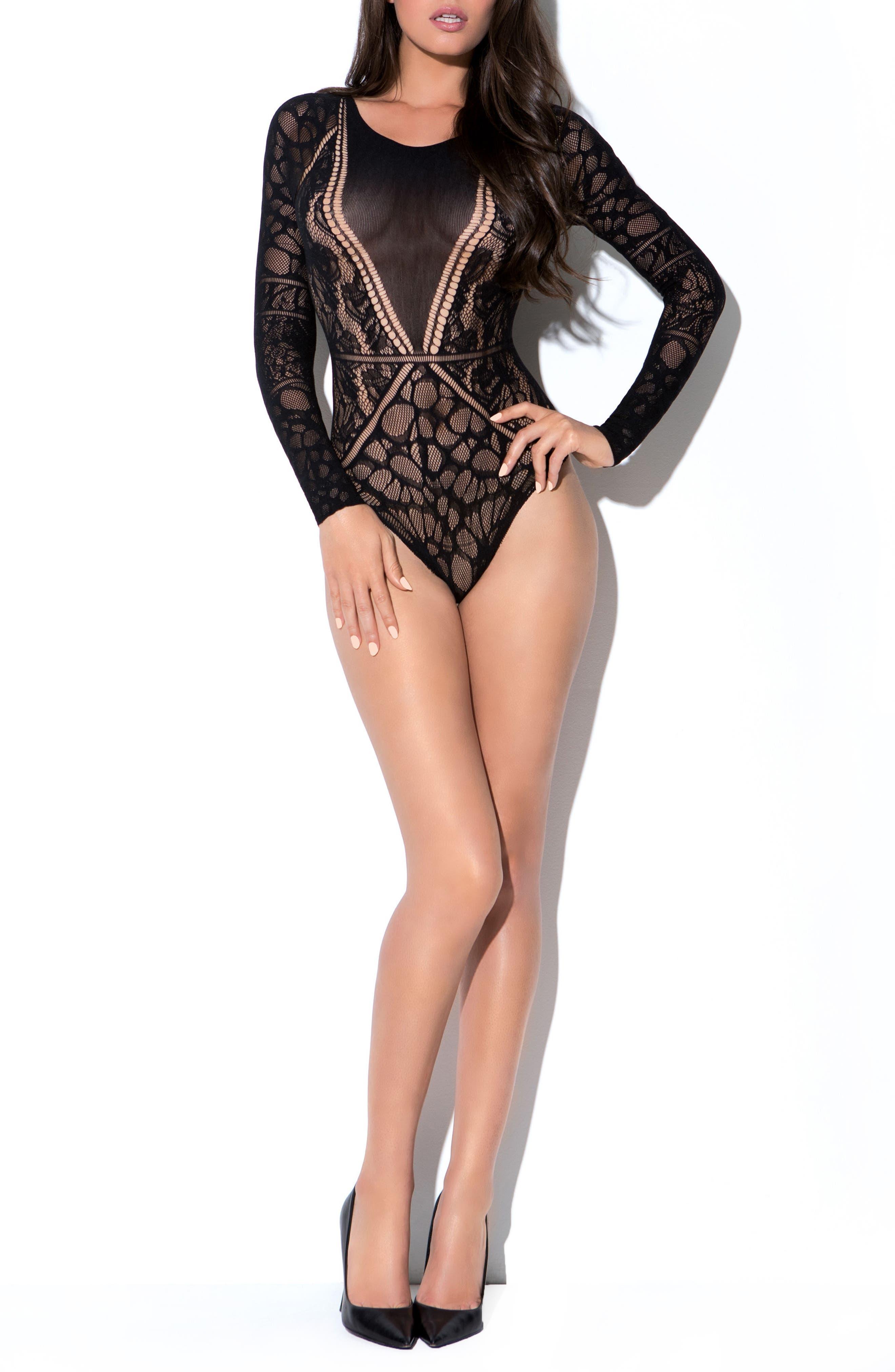 Luciana Thong Bodysuit,                         Main,                         color, Black