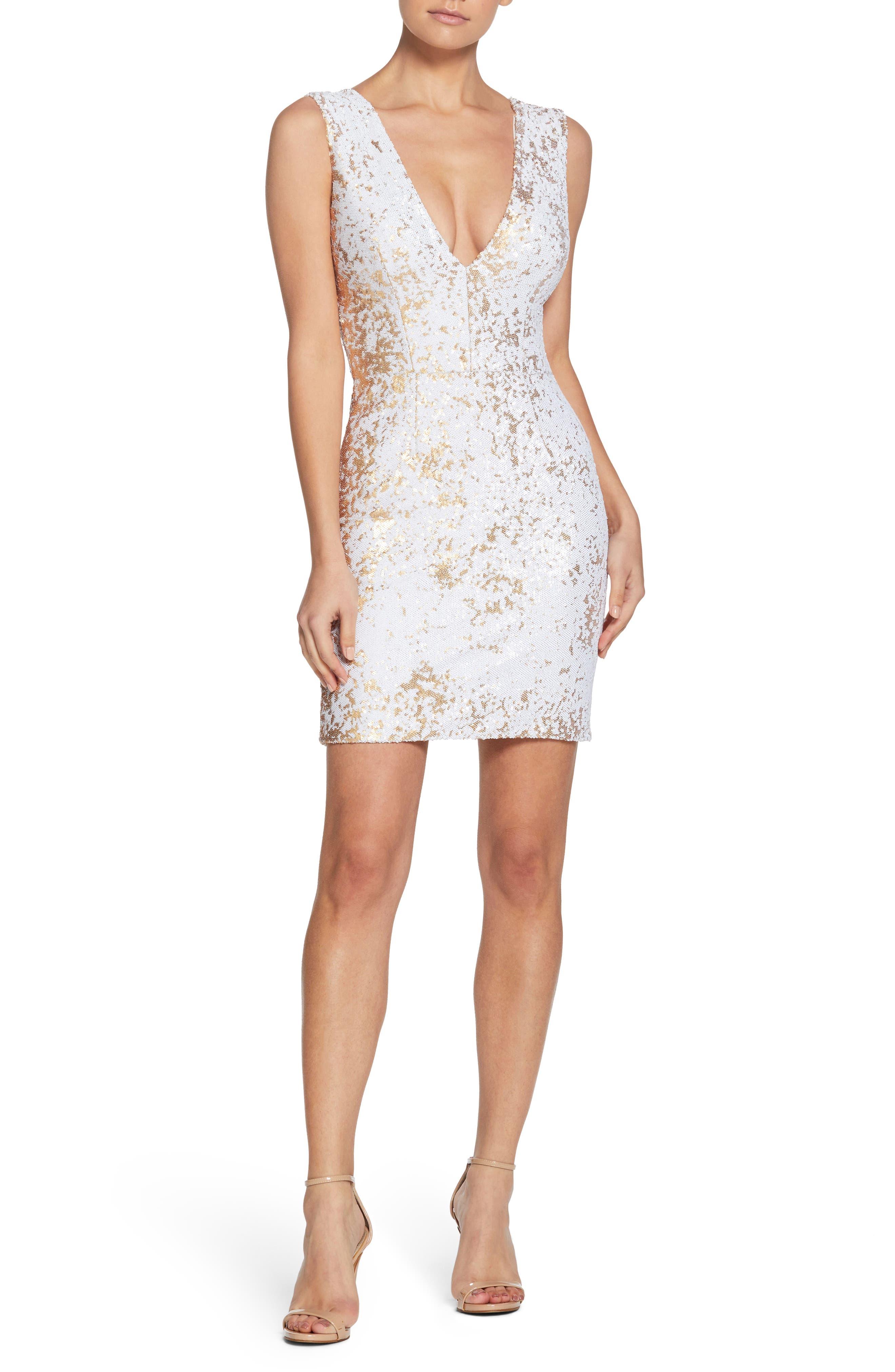 Cody Sequin Body-Con Minidress,                         Main,                         color, White/ Gold