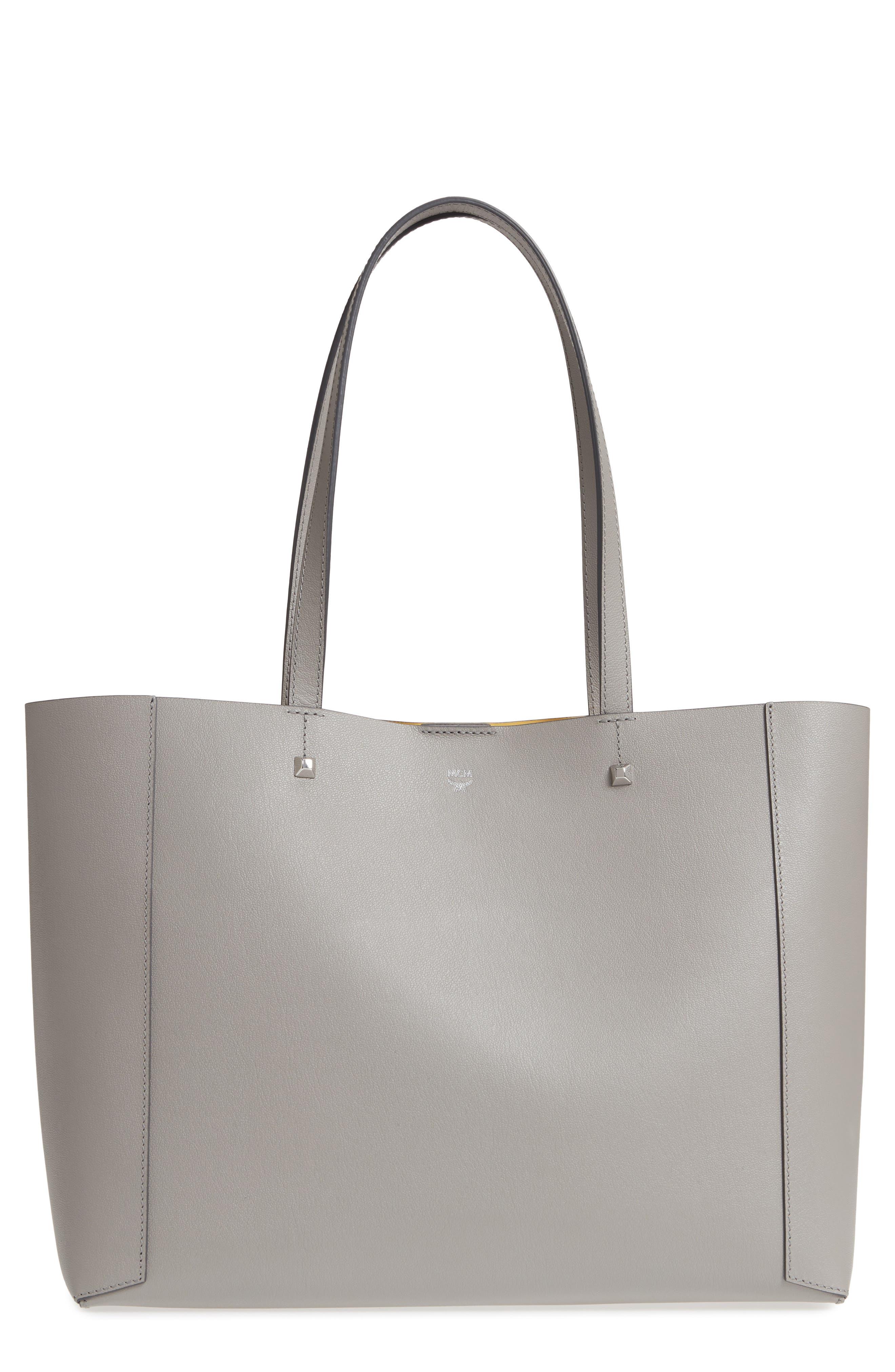 Ilse East/West Leather Shopper,                             Main thumbnail 1, color,                             Arch Grey