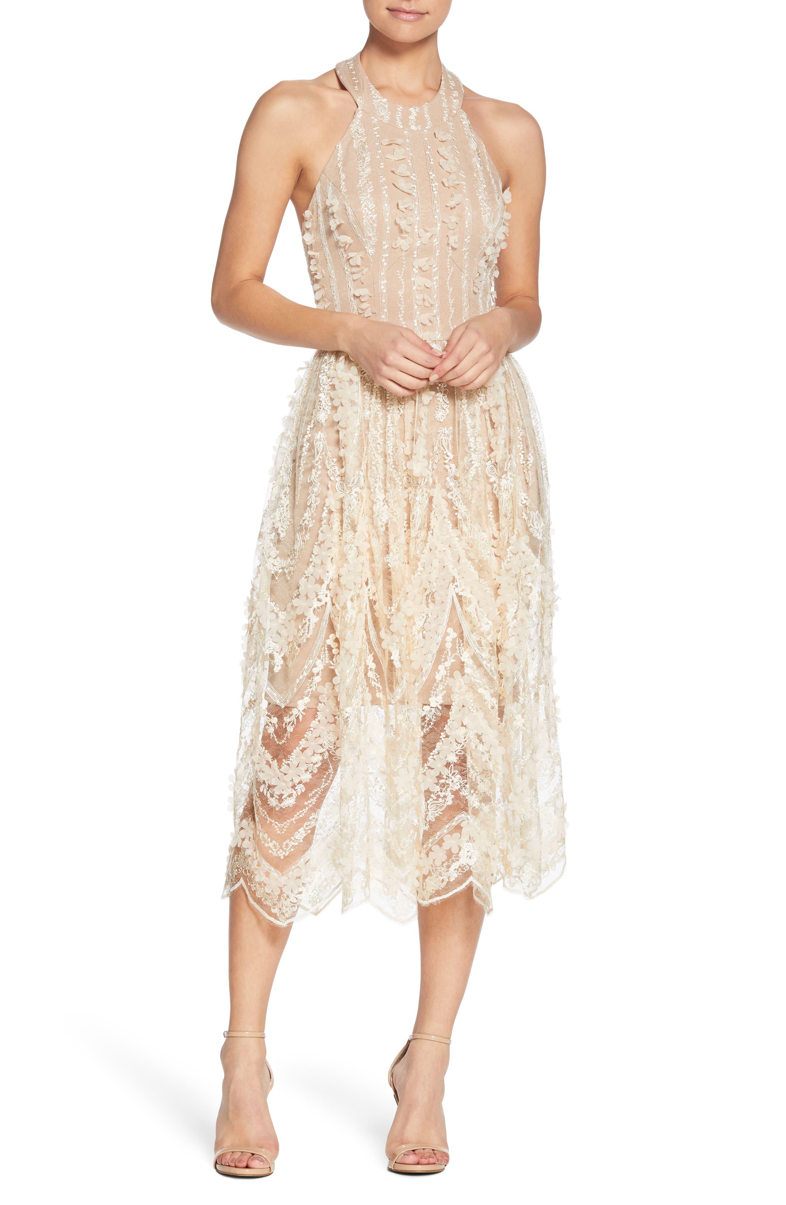 Valerie Halter Dress, Cream/ Nude