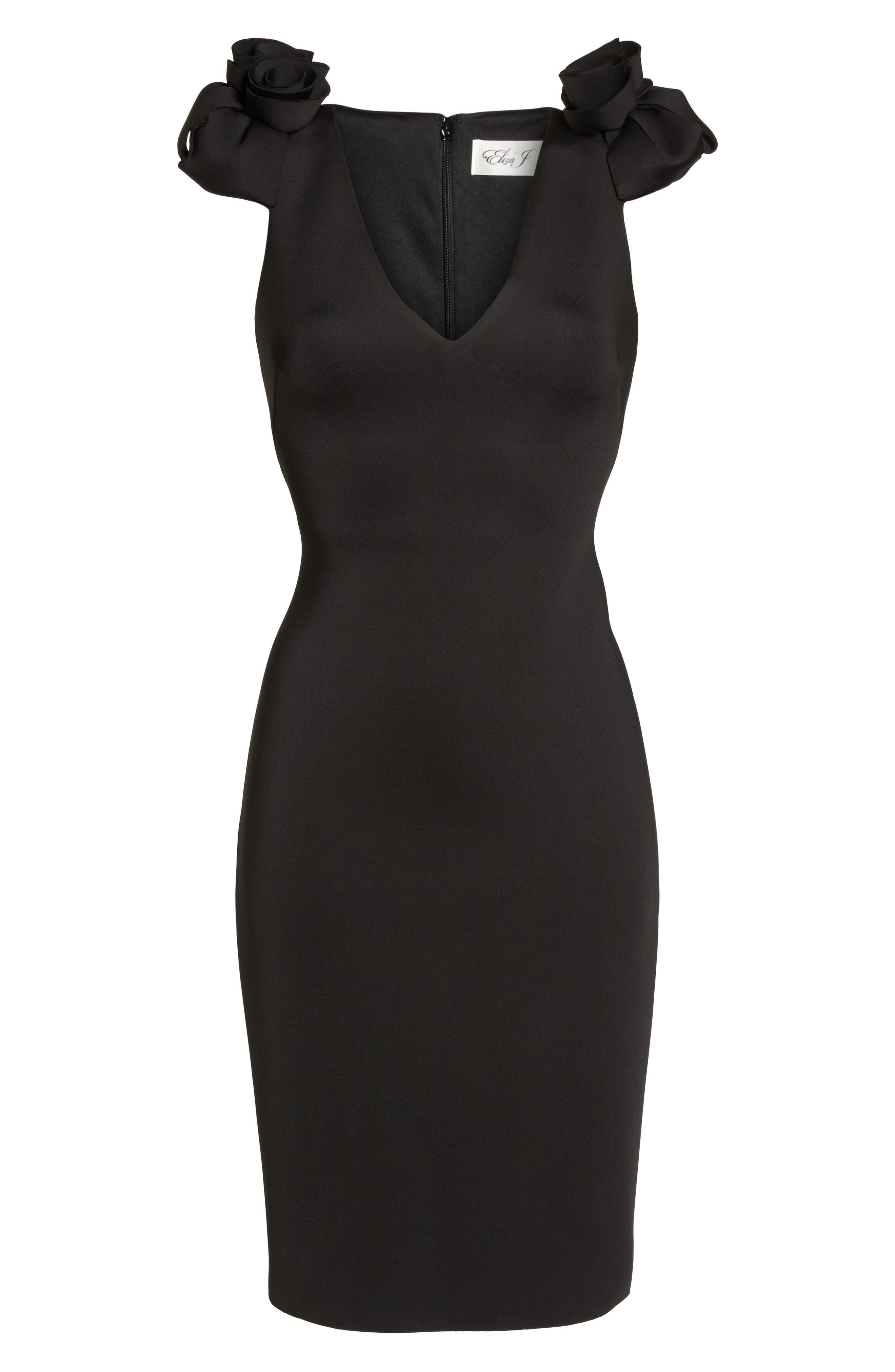 Flower Detail Sheath Dress,                             Alternate thumbnail 5, color,                             Black