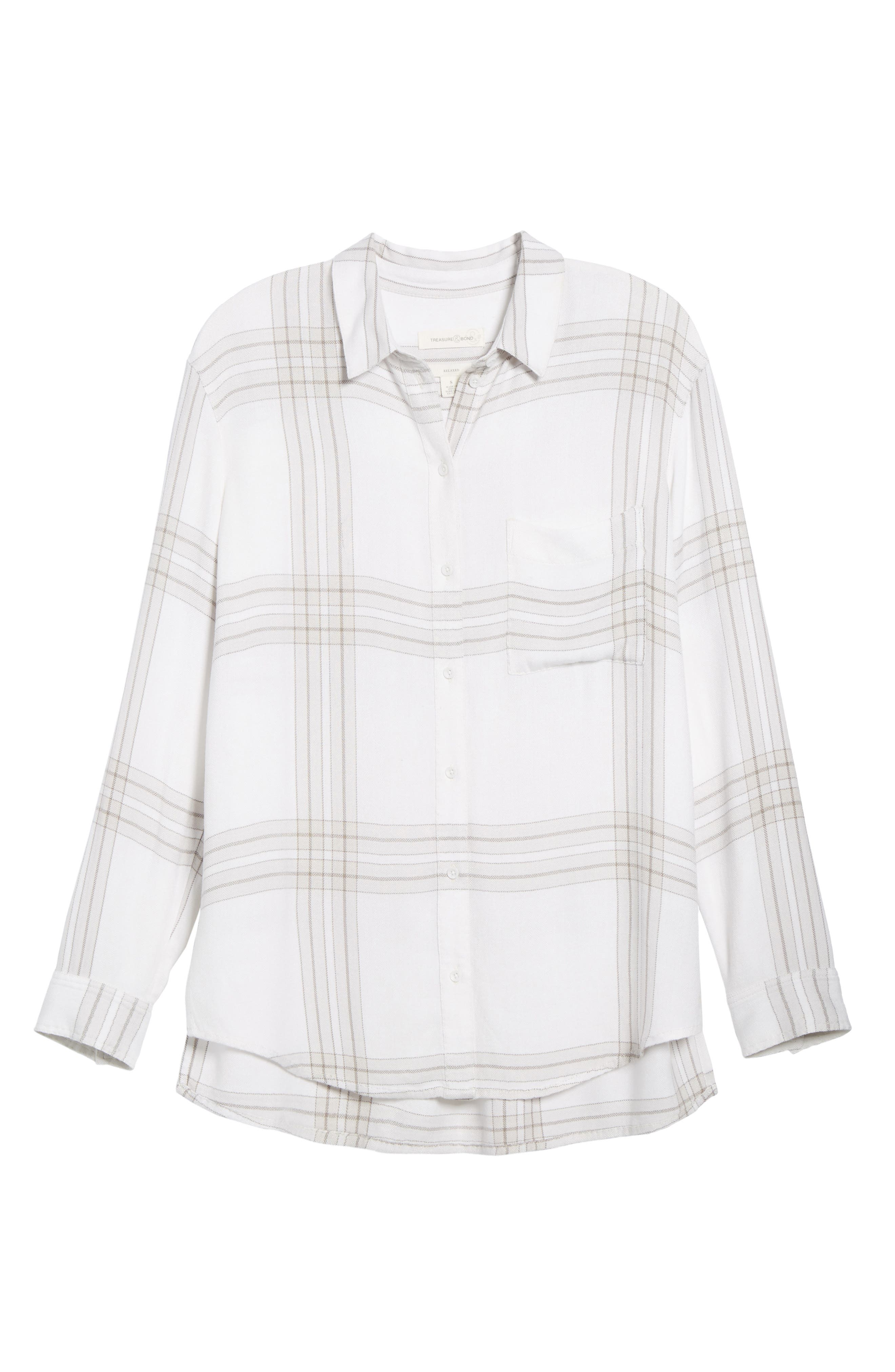 Drapey Plaid Shirt,                             Alternate thumbnail 6, color,                             Grey Ombre Open Window