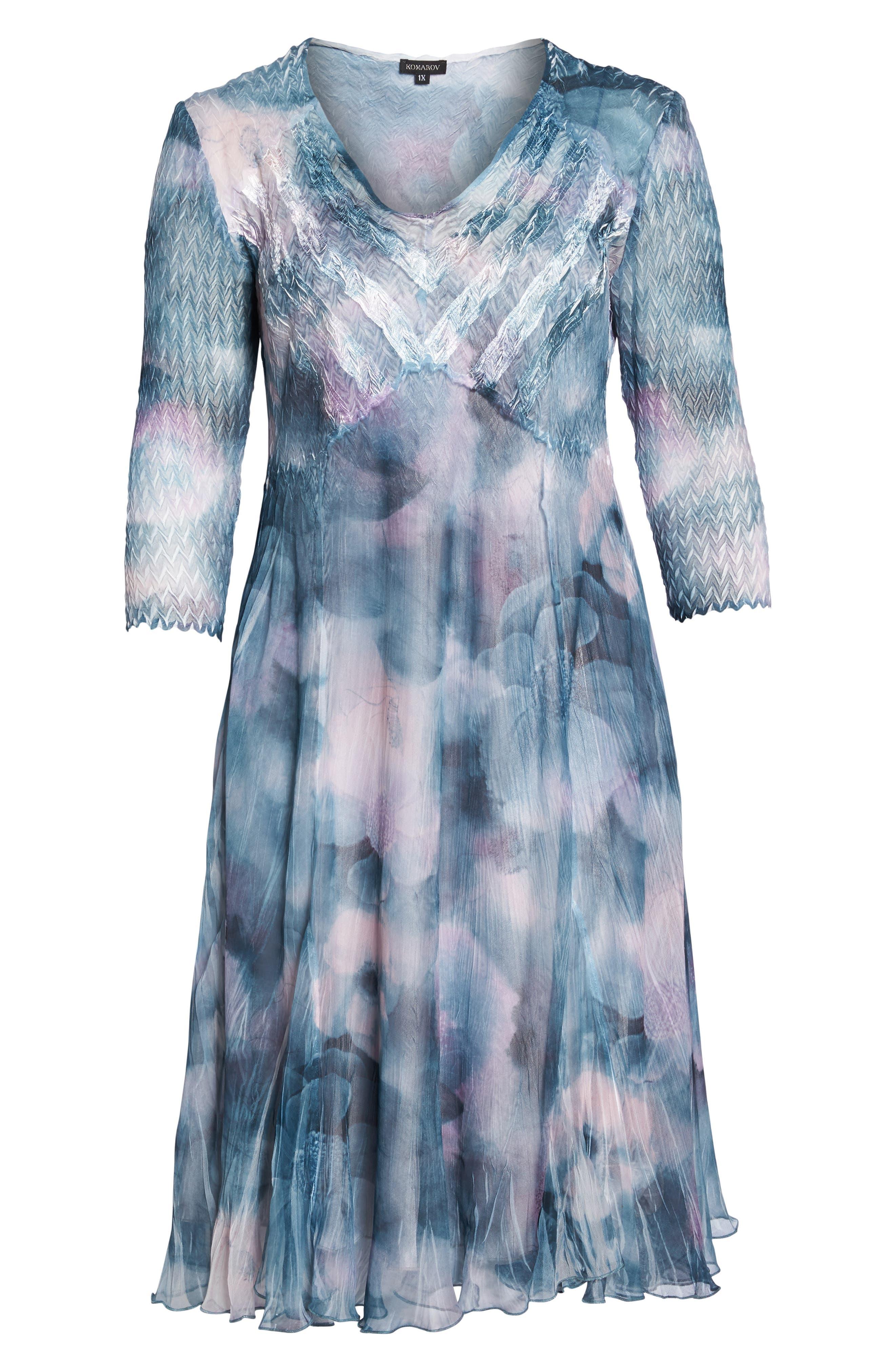 Floral Charmeuse & Chiffon A-Line Dress,                             Alternate thumbnail 6, color,                             Everglade Sky