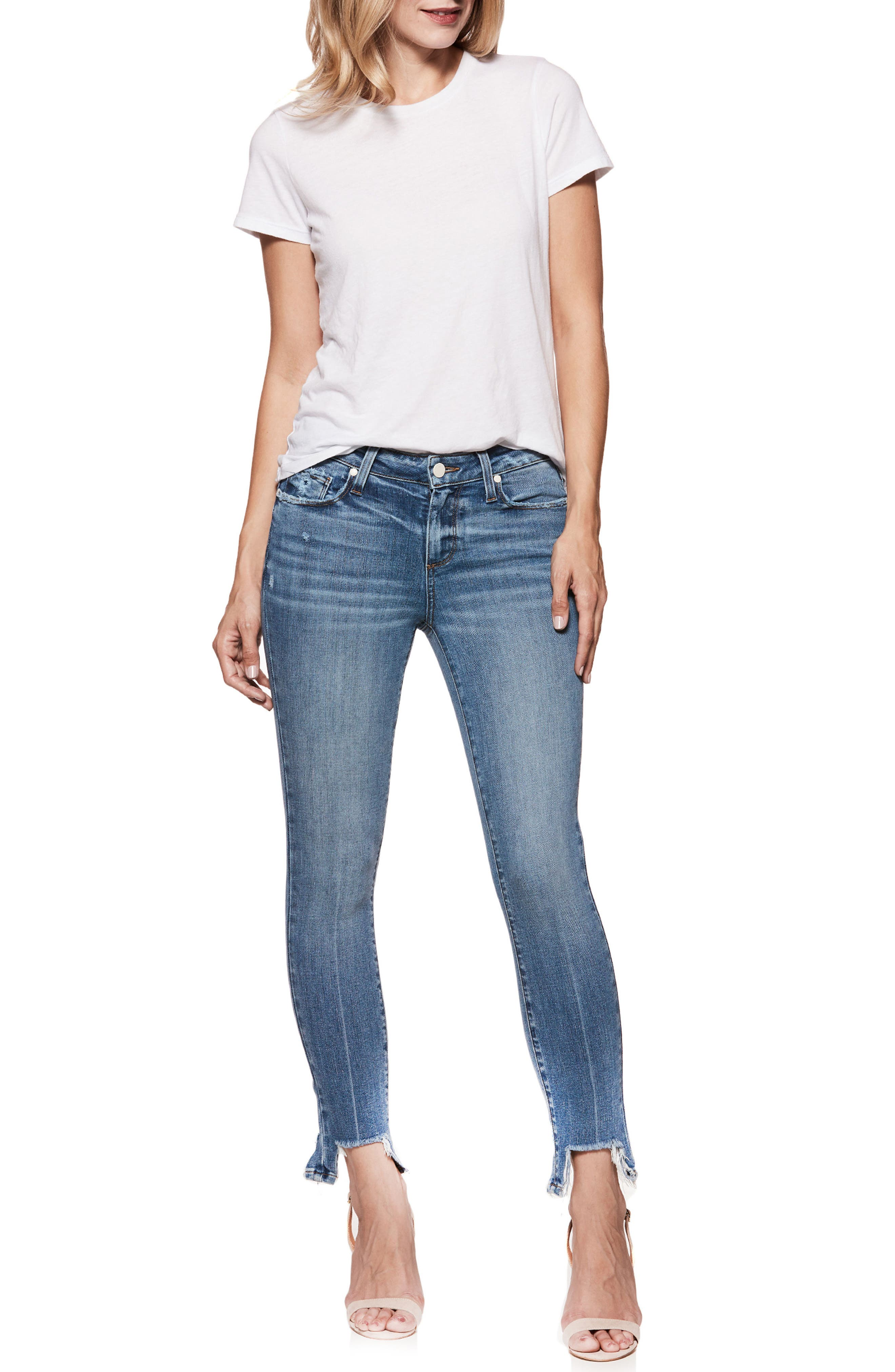 Transcend Vintage - Hoxton High Waist Ankle Skinny Jeans,                             Alternate thumbnail 3, color,                             Zahara