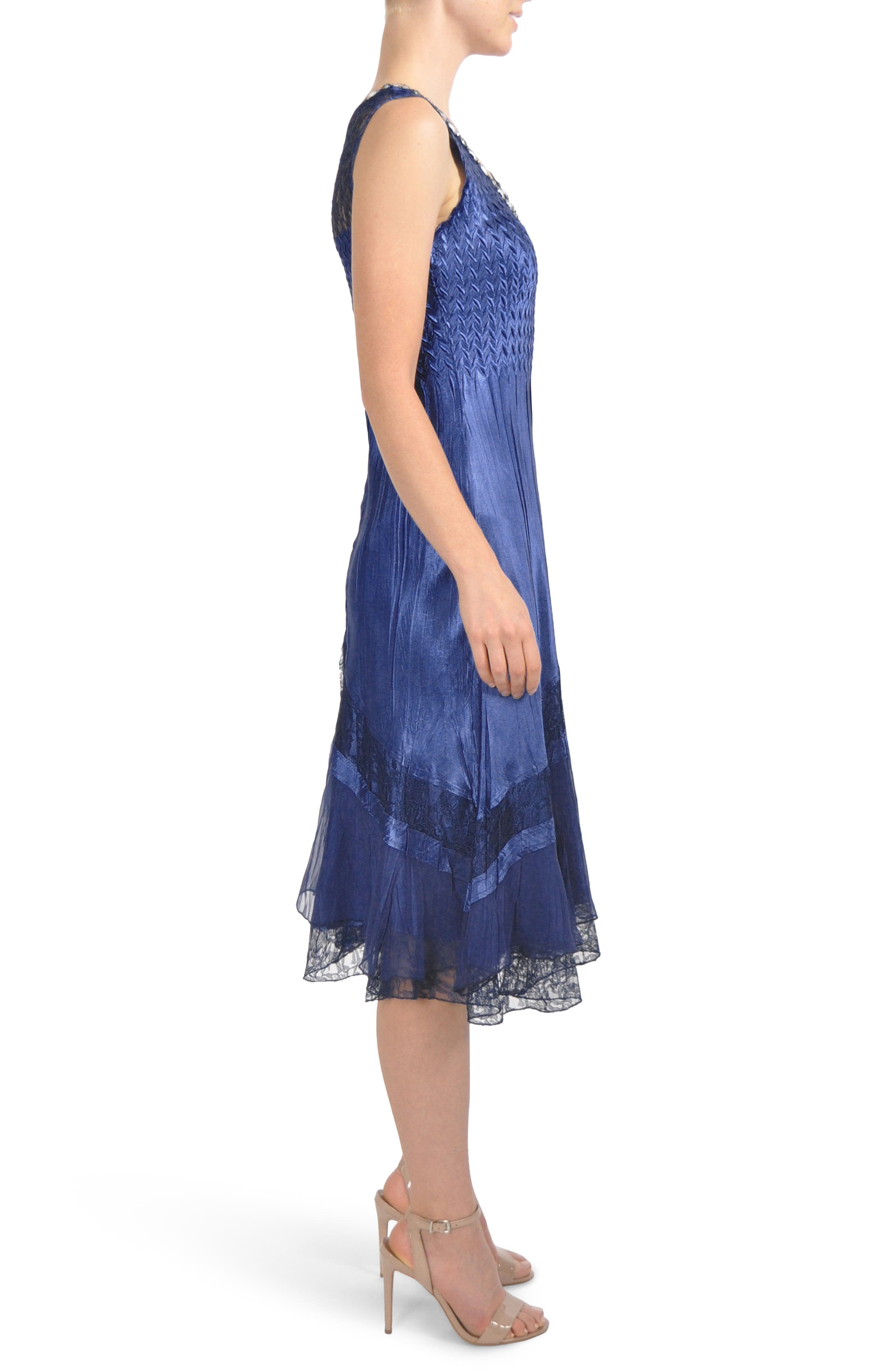 Embellished Lace Trim Dress with Jacket,                             Alternate thumbnail 3, color,                             Navy Black Ombre
