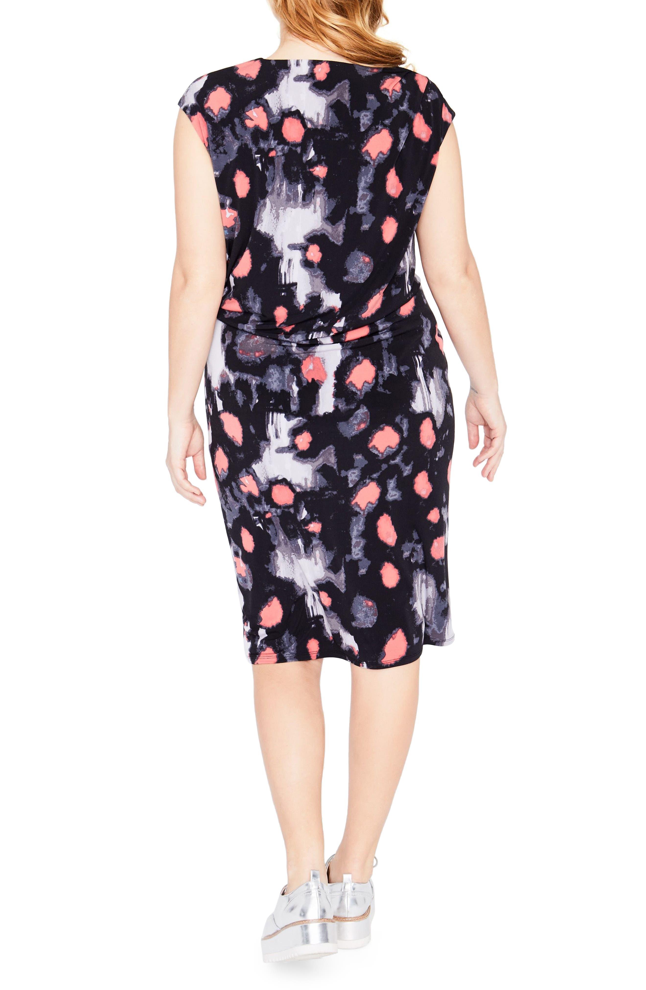 Floral Print Draped Dress,                             Alternate thumbnail 2, color,                             Black Combo
