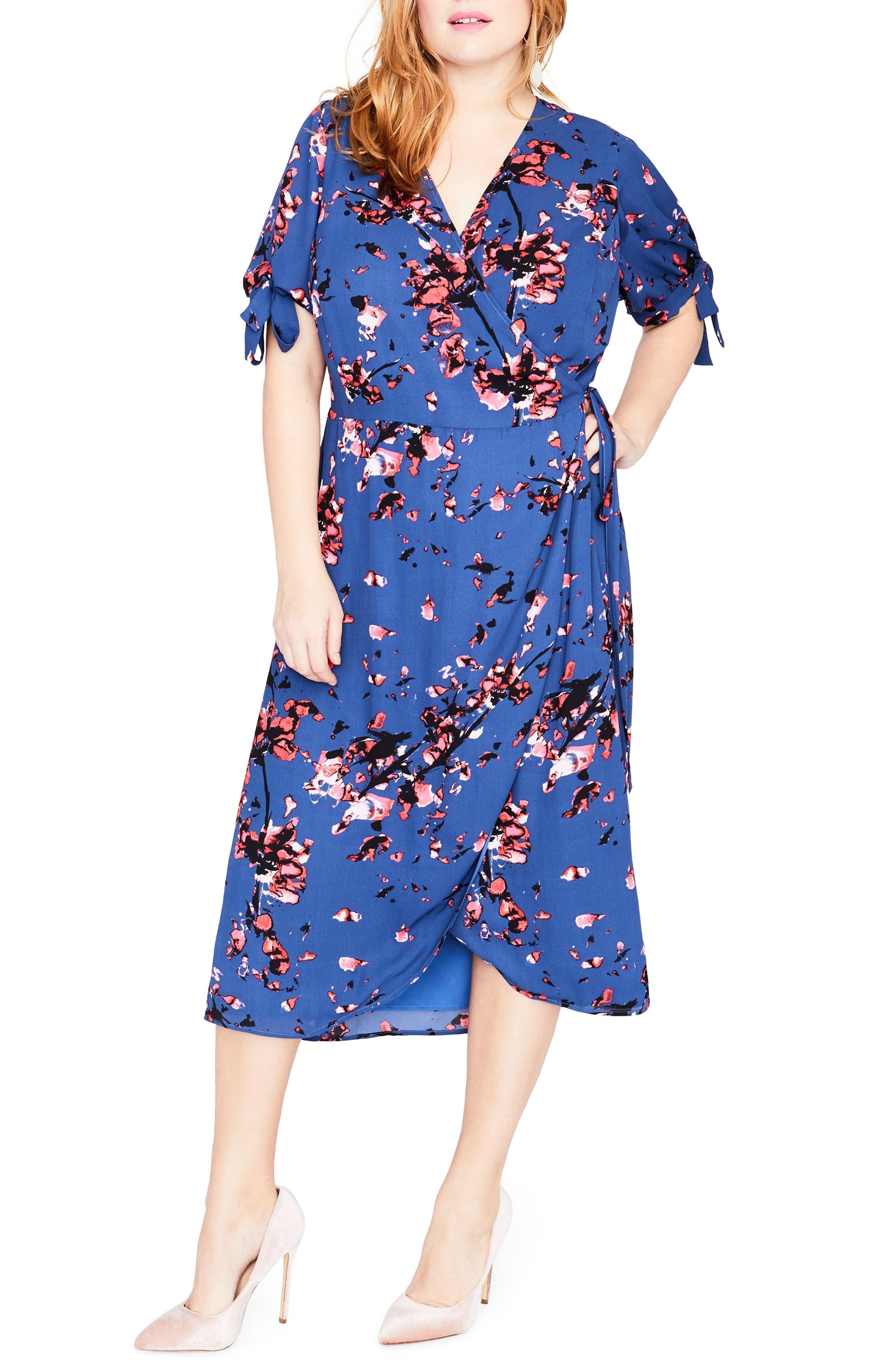 Floral Print Wrap Midi Dress,                         Main,                         color, African Violet Combo