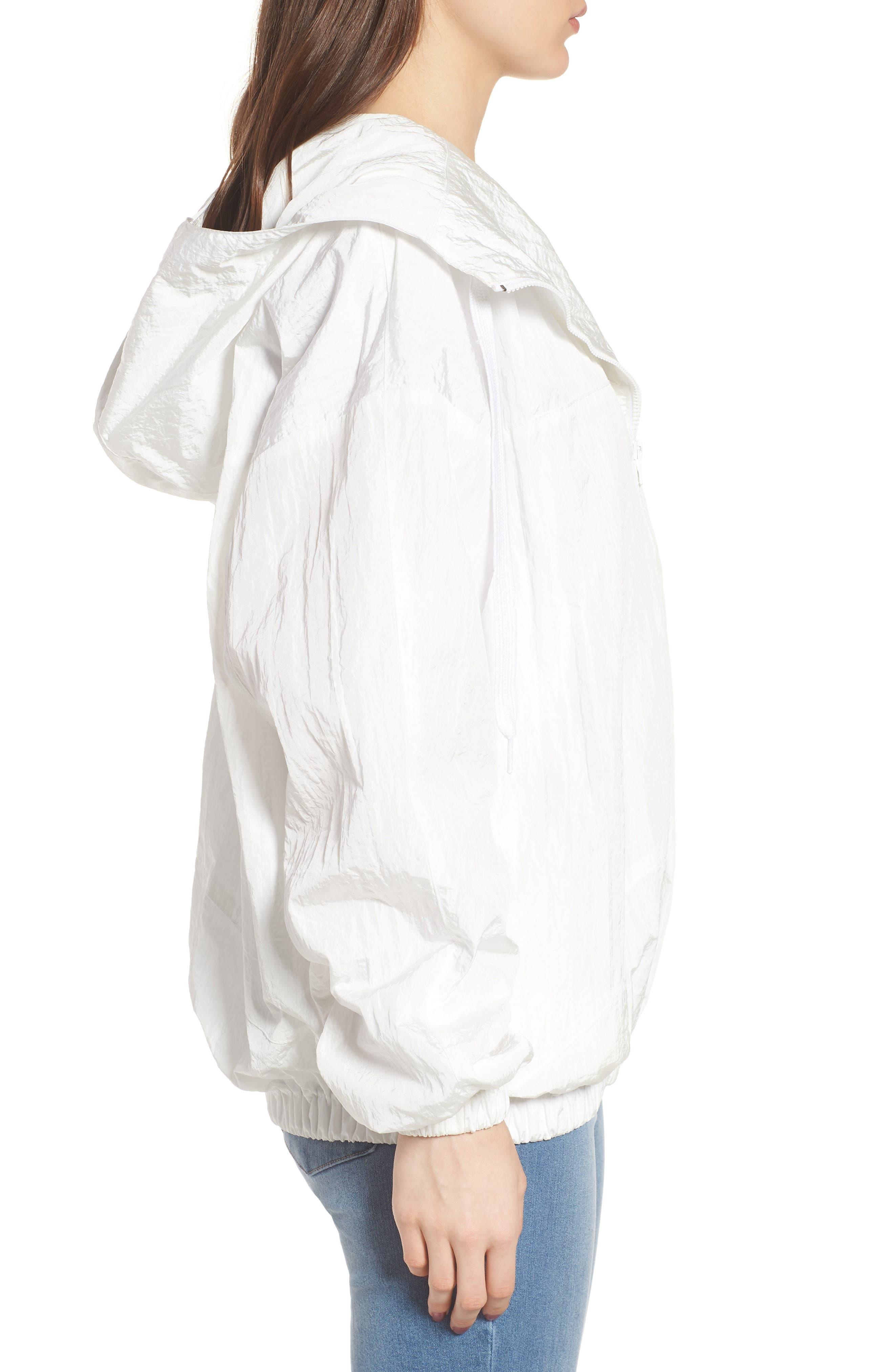 Hooded Windbreaker Jacket,                             Alternate thumbnail 3, color,                             White