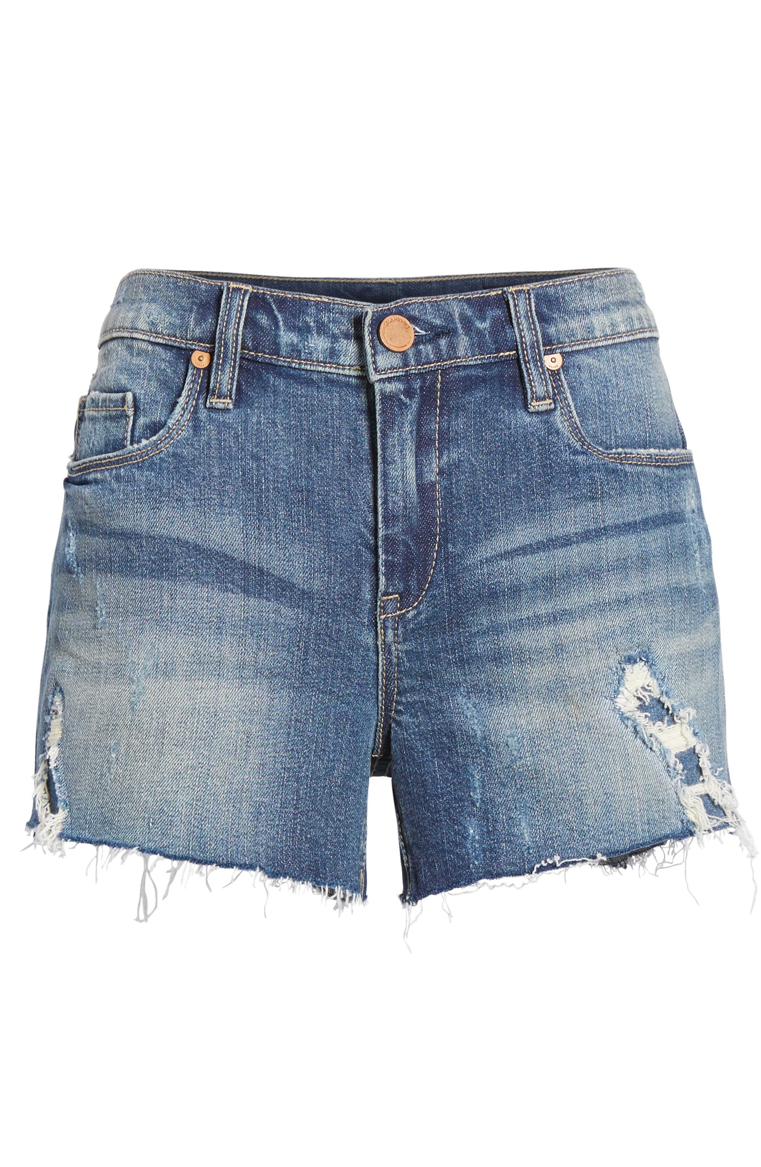 The Astor Ripped Cutoff Denim Shorts,                             Alternate thumbnail 6, color,                             Blame Storming