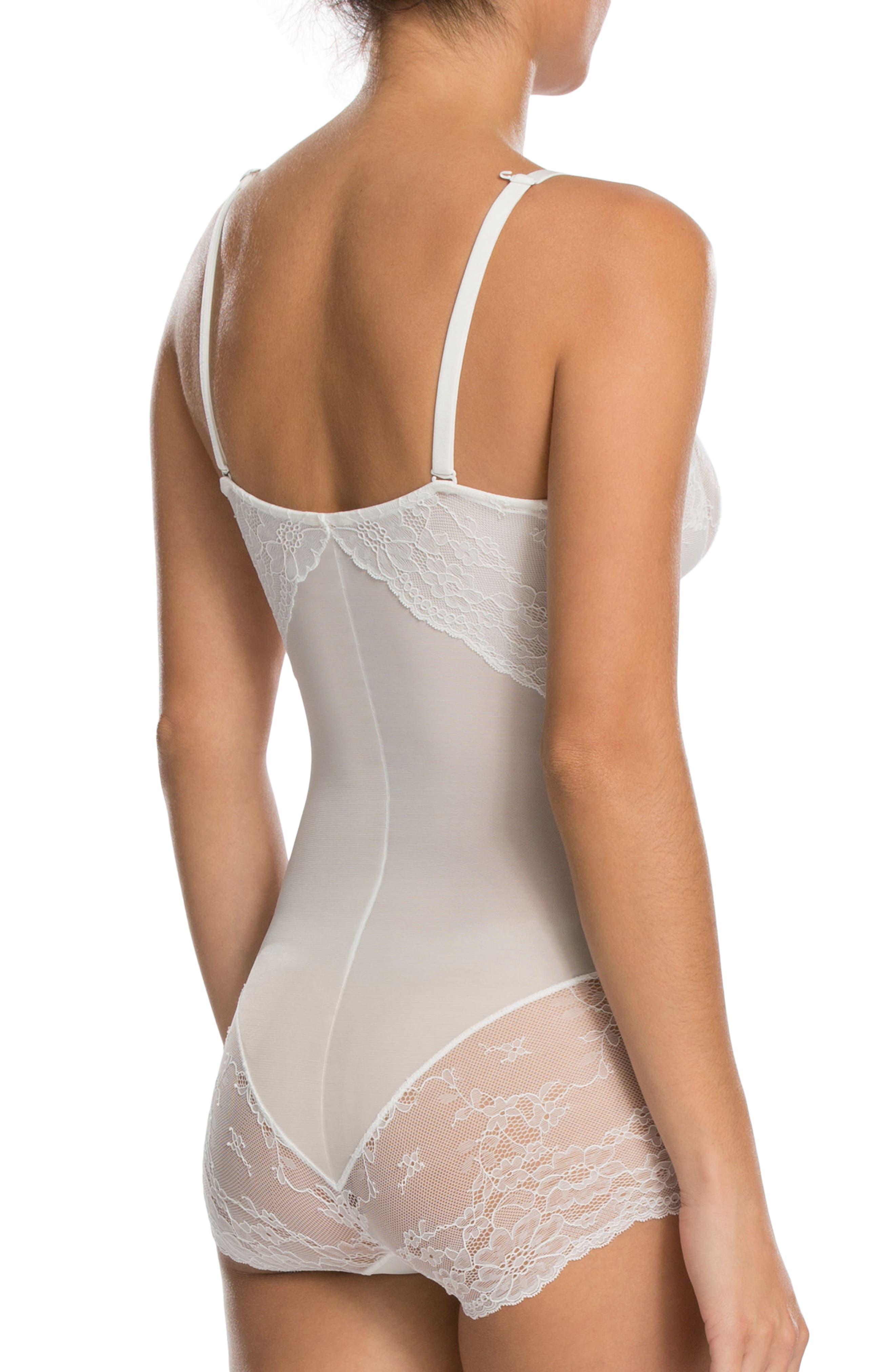 Spotlight On Lace Bodysuit,                             Alternate thumbnail 2, color,                             Clean White