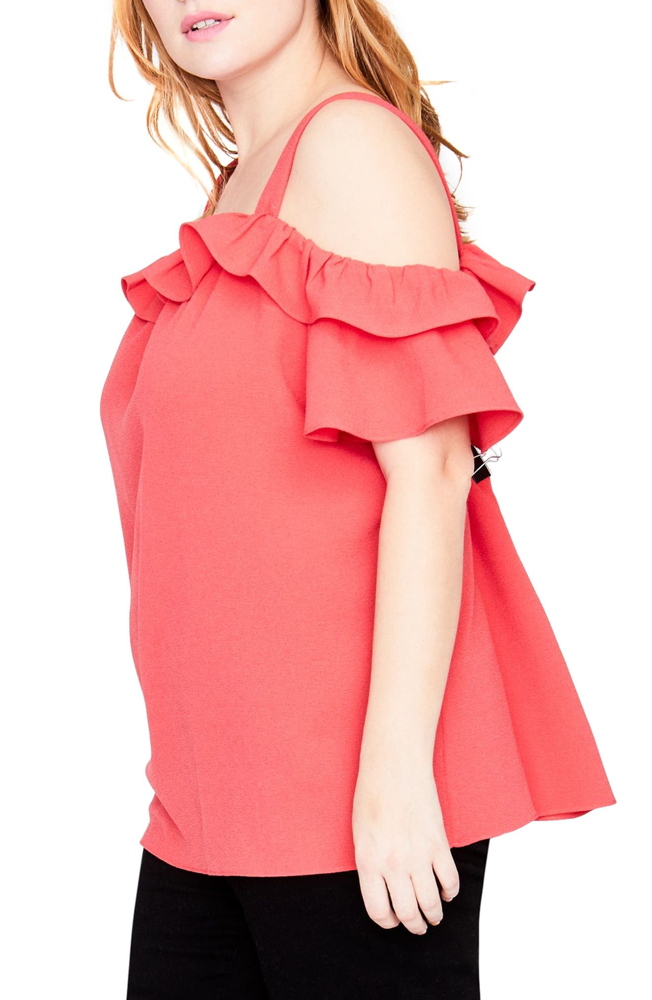 Alternate Image 3  - RACHEL Rachel Roy Ruffle Edge Top (Plus Size)